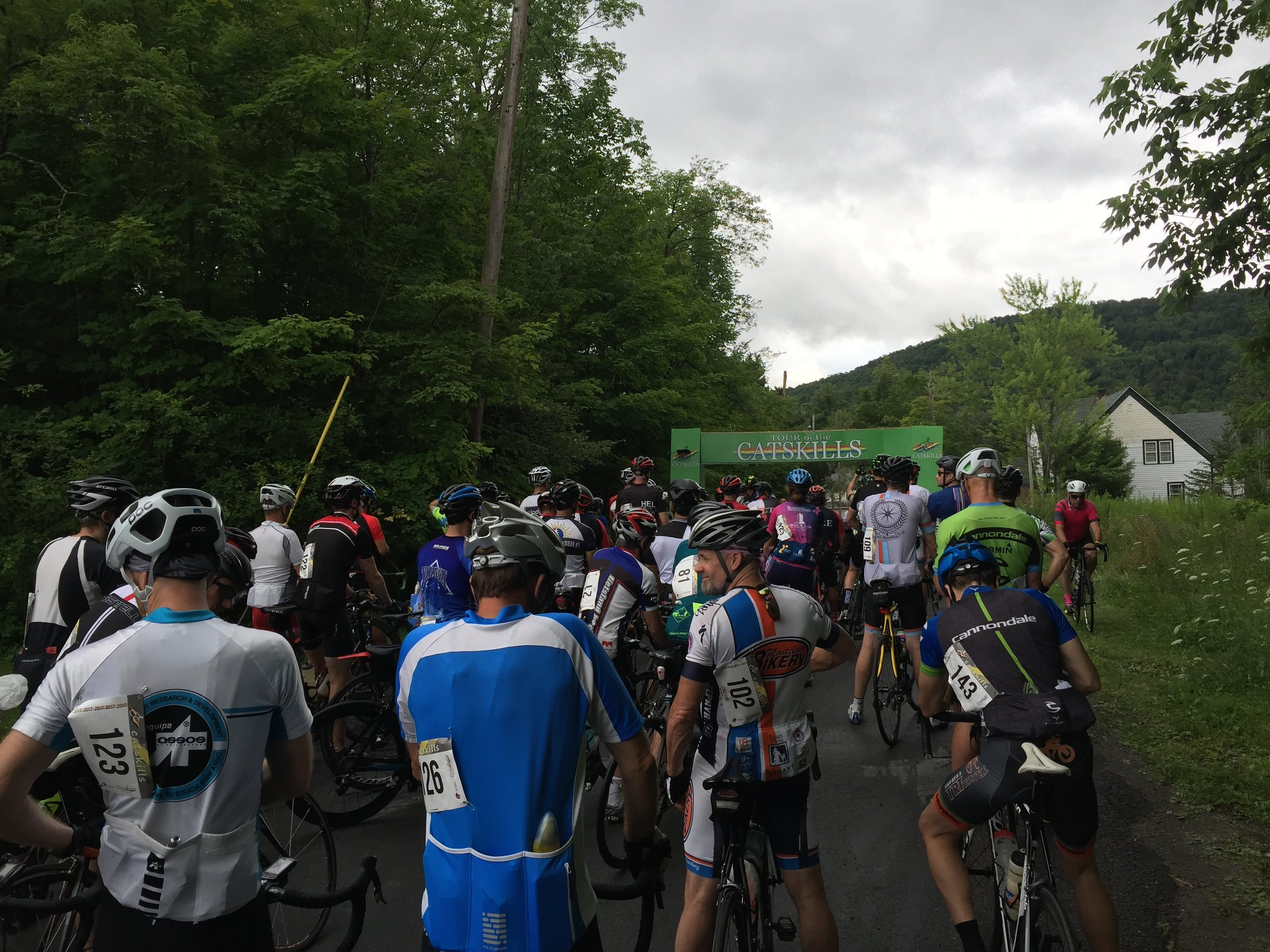 Riders lined up for the start of the 80-mile Tour of the Catskills on Church Street.