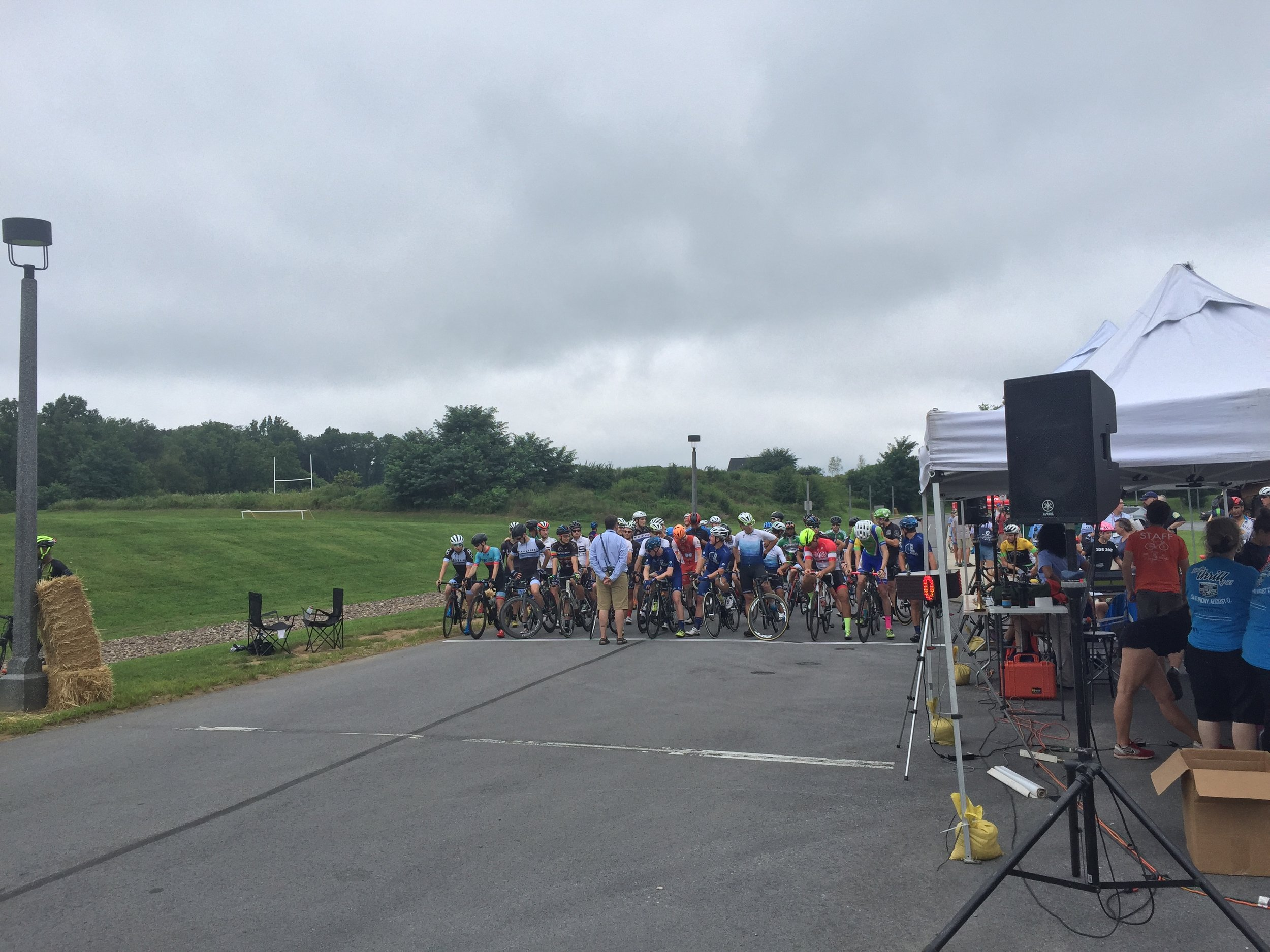 The starting line at the West Chester Rustin High School for the Benchmark Twilight Cycling Classic qualifier. This was the mid-point of the downhill straight-away.