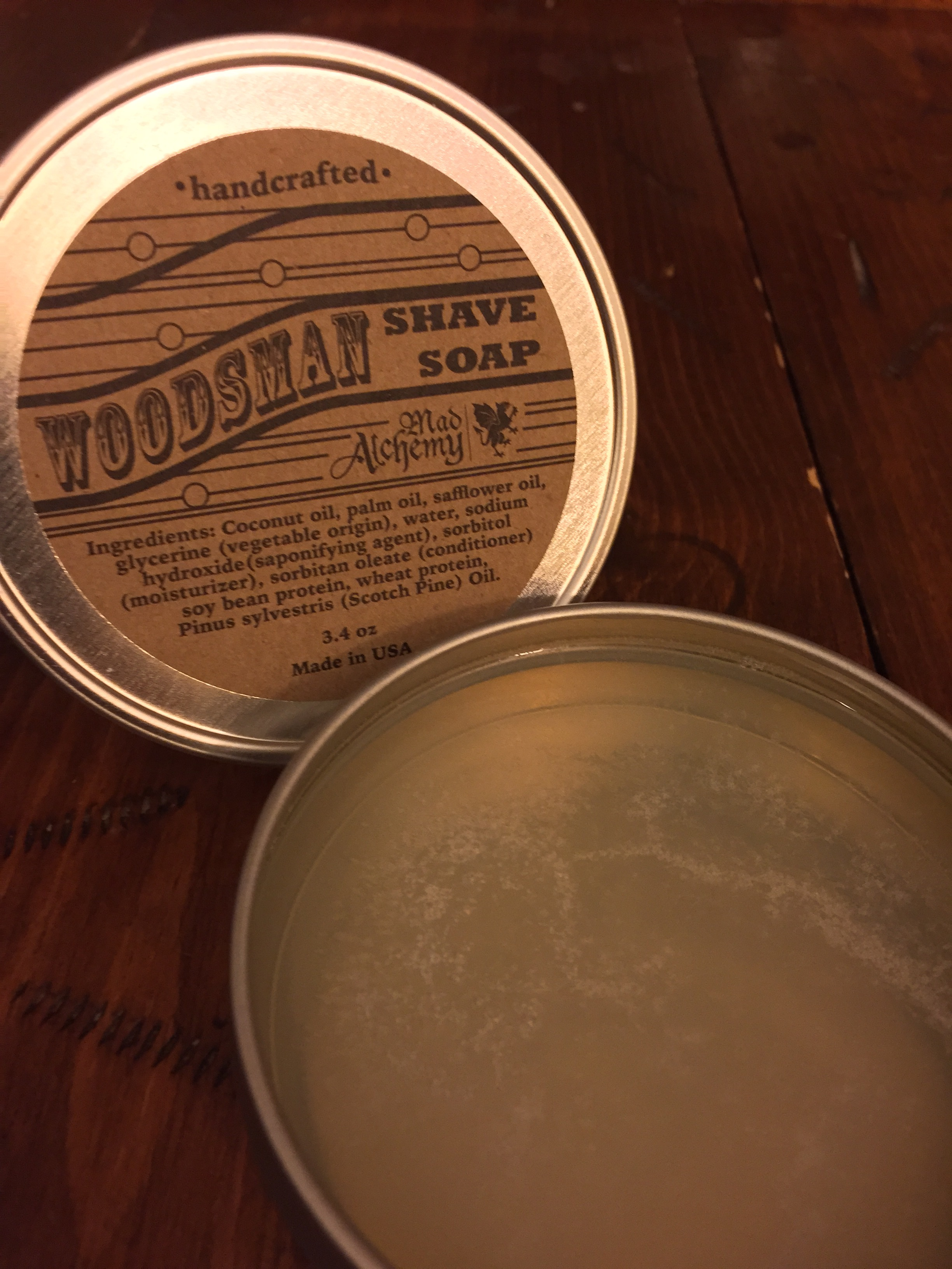 The tin's soap not only looked enticing but it smell inviting. It evoked visions of riding through pine forests across beds of brown needles and absorbtive trees in relaxing solitude.