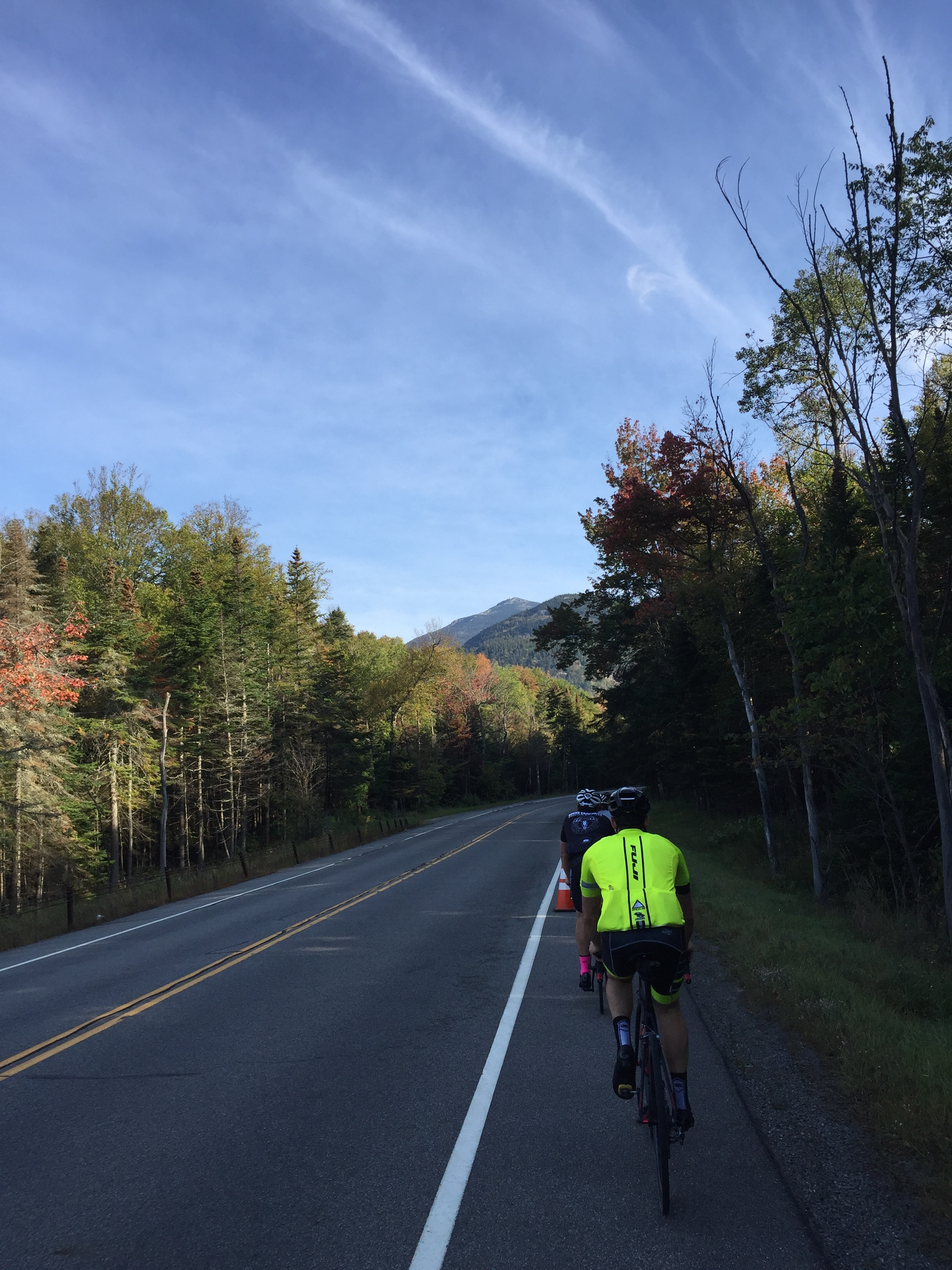 From River Road we continued to easily descend toward Wilmington via Route 86. The mountain view lurked here, too. Yes that is a cone in the photo. A relay running event climbed 'The Notch' out of Wilmington and the cones marked the course. We decided it was safer to ride on the shoulder-side of the cones.