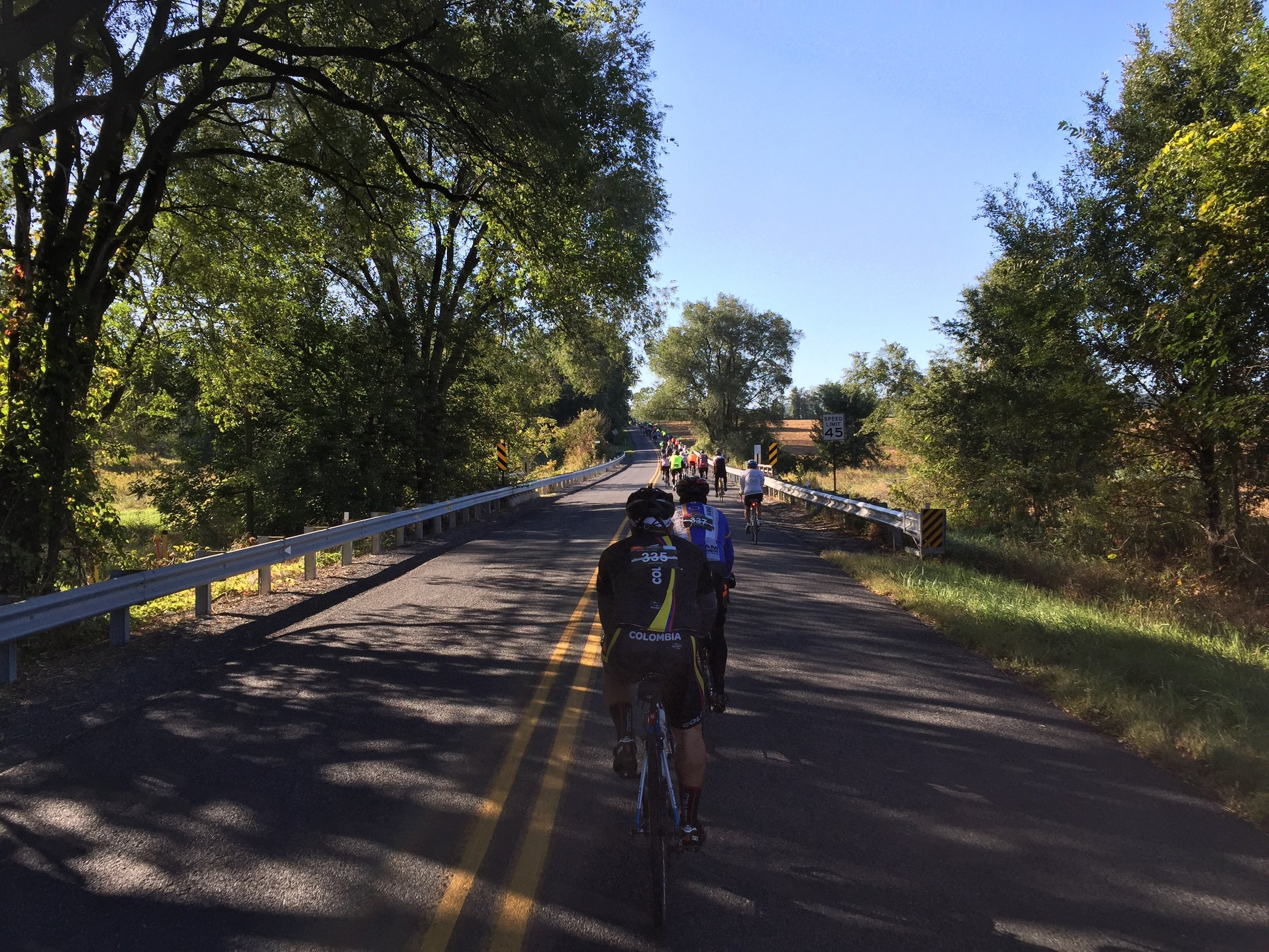 The first few miles of the fity-mile route was heavily populated with hopeful cyclists.