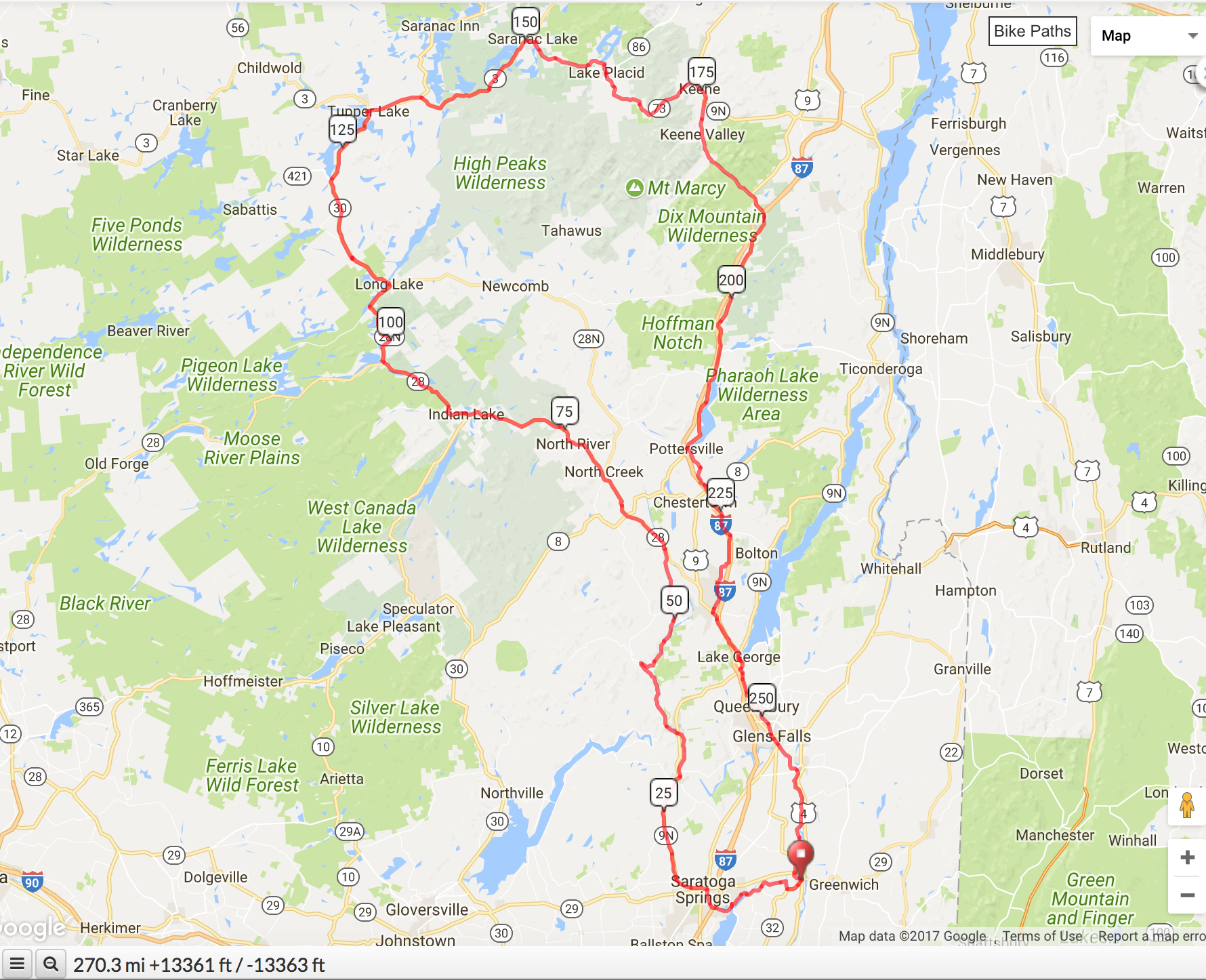 Adirondack Ultra Fondo Map is available on ridewithgps.com