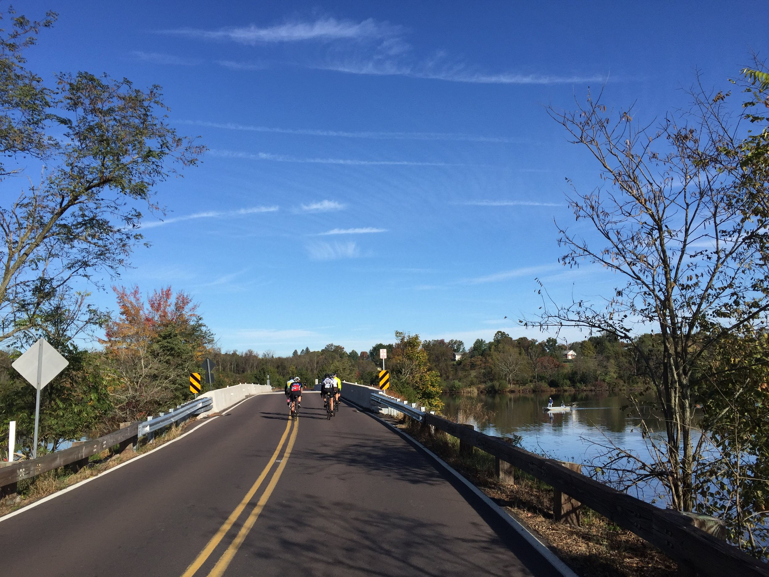 Portions of the Oktoberfest Ride circumnavigate Green Lane Reservoir to provide a peaceful backdrop.