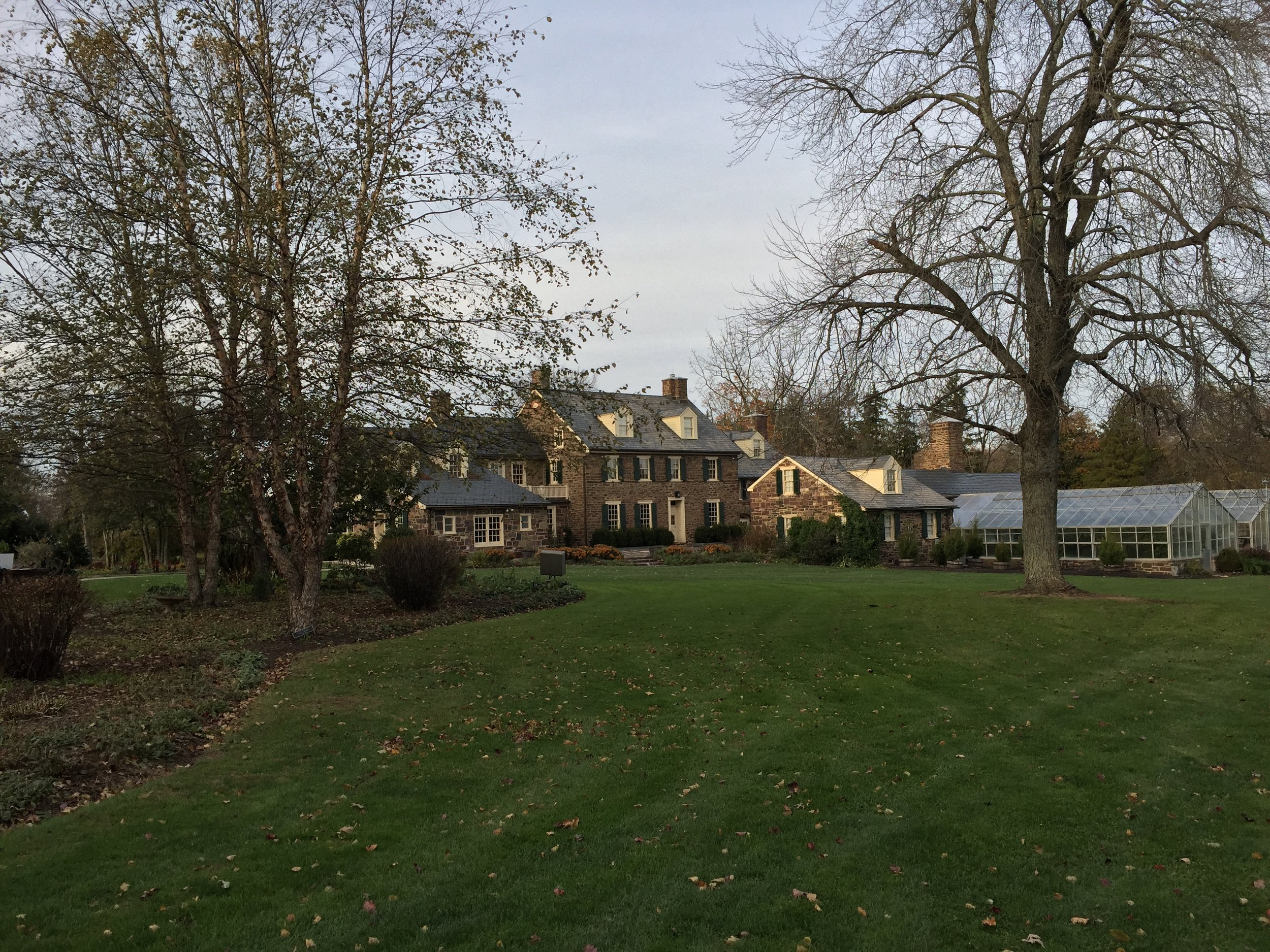 The Pearl S. Buck house proper, complete with   manicured lawns and sprawling masonry.