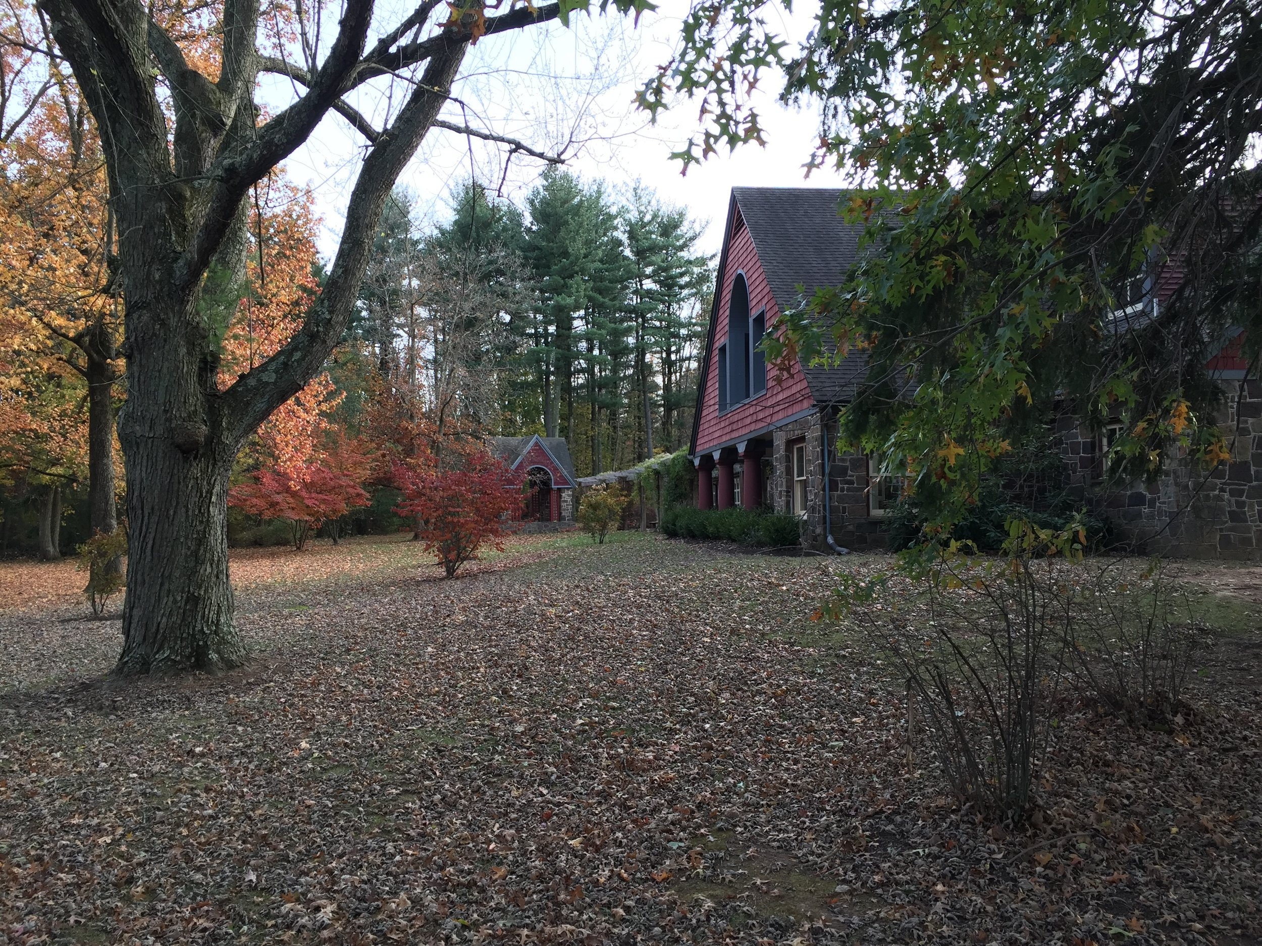 The chalet that greets the visitors initially on the left side of the driveway provides a dramatic bit of   architecture amidst Buck County foliage.