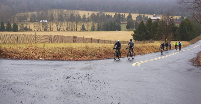 The final major climb of the Sourland Semi-Classic was bordered by thick fog. Photo courtesy Emily Vickers, MVPLLC.