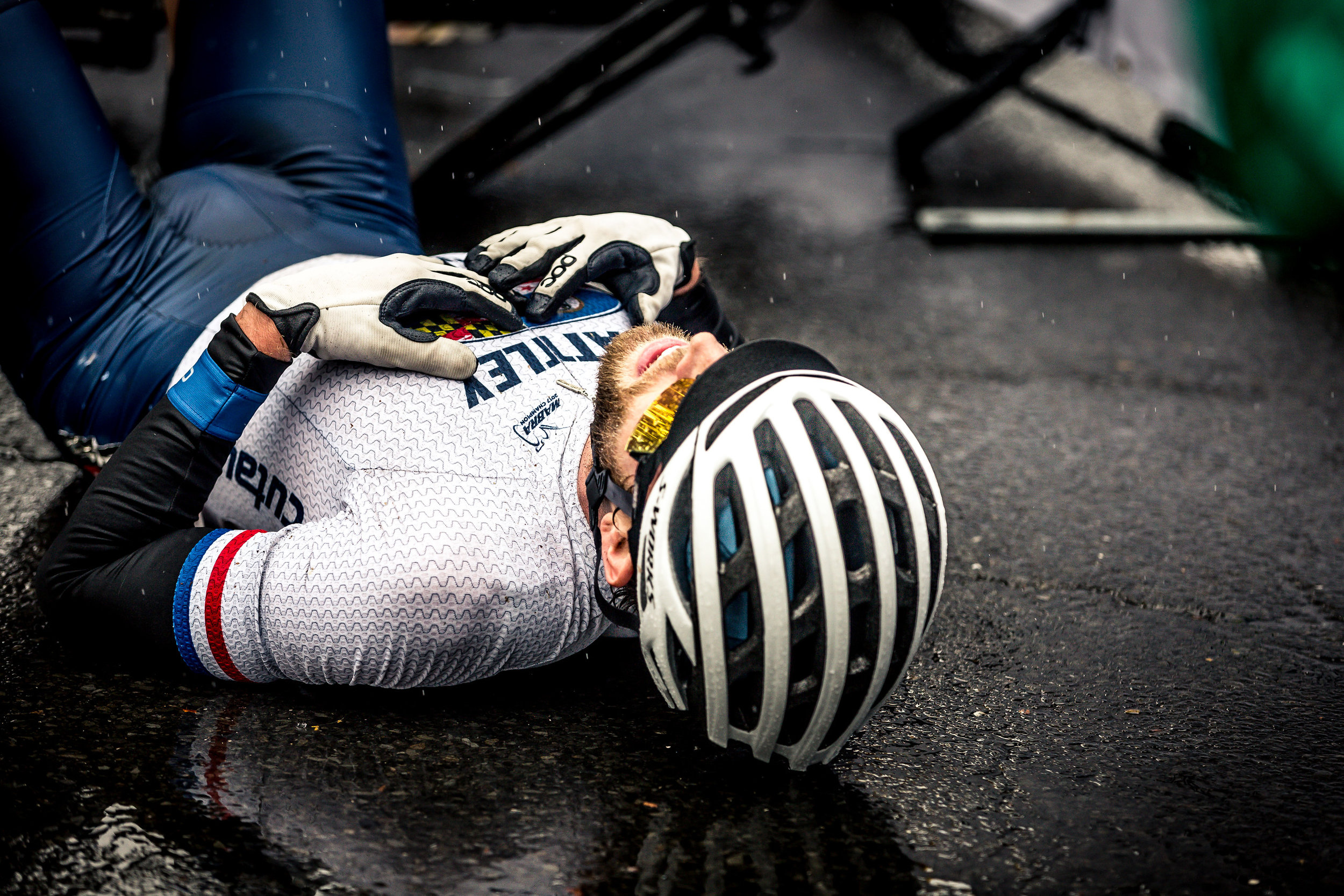 McLoone laid down on the road after his impressive effort to bridge the gap.