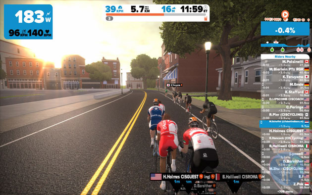 Zwift clarity is remarkable. A standard view on Zwift, riders can see their wattage, progress, and separation within the group experience.