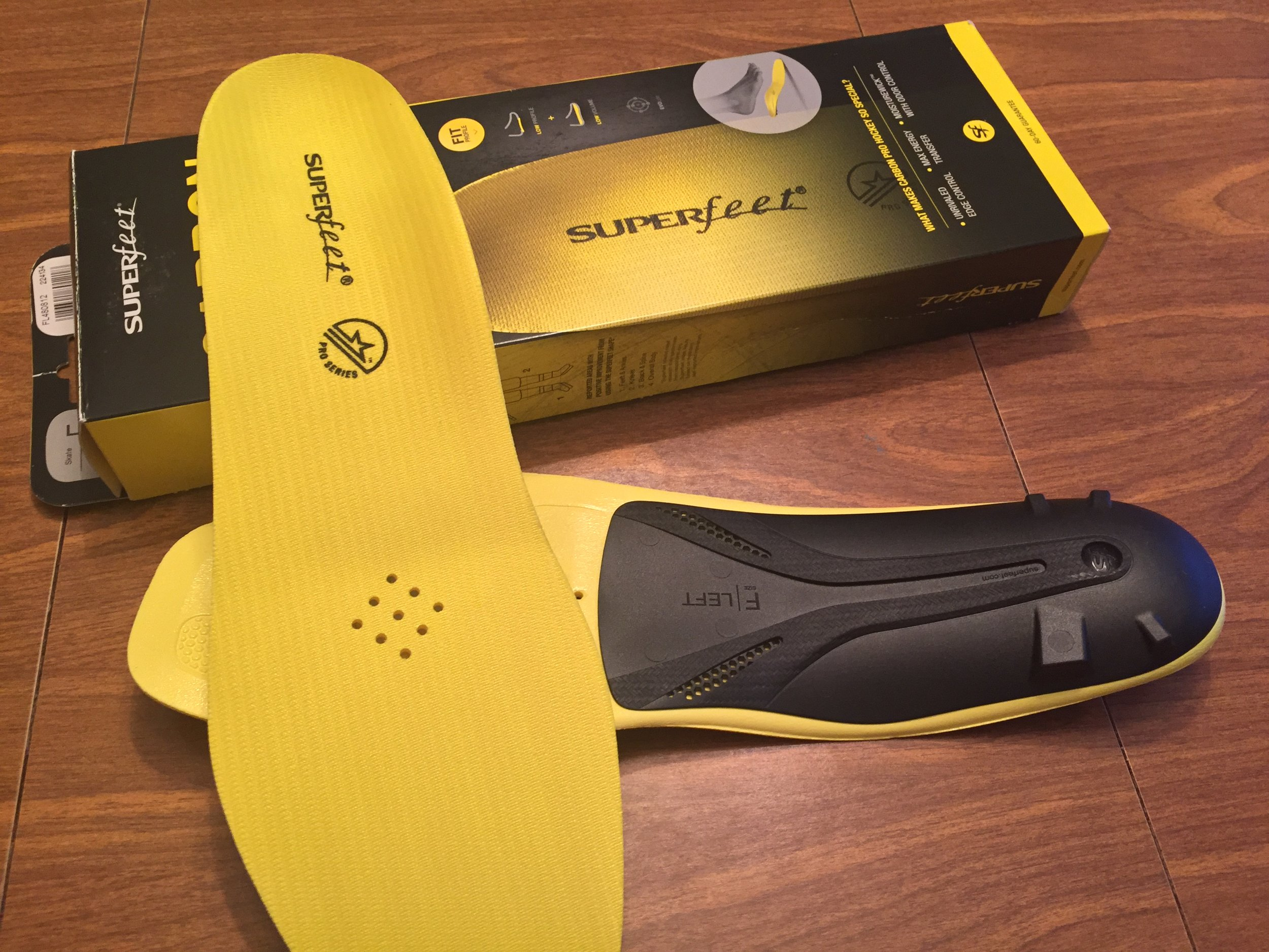 The Supefeet Carbon Pro Inserts, branded as hockey, are also recommended for cycling shoes.The black heel cup and lift creates a noticeable difference in fit.