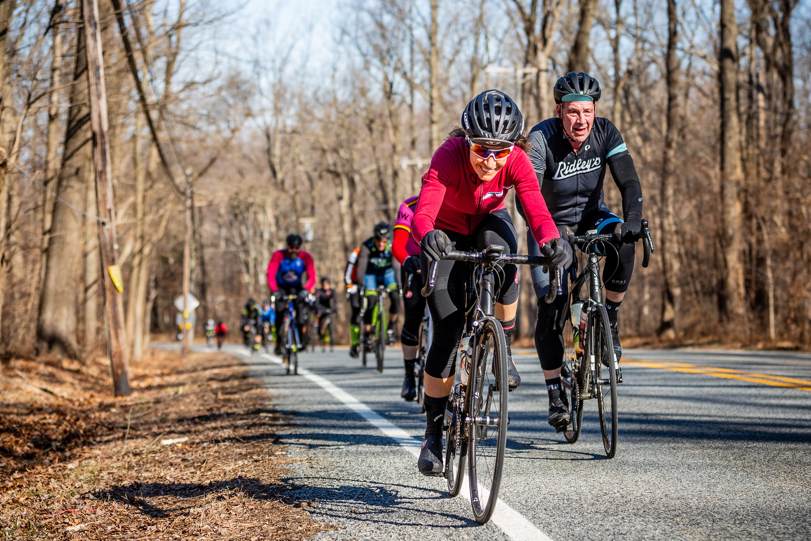 Atop one of the early climbs, riders were enjoying the perfect conditions.