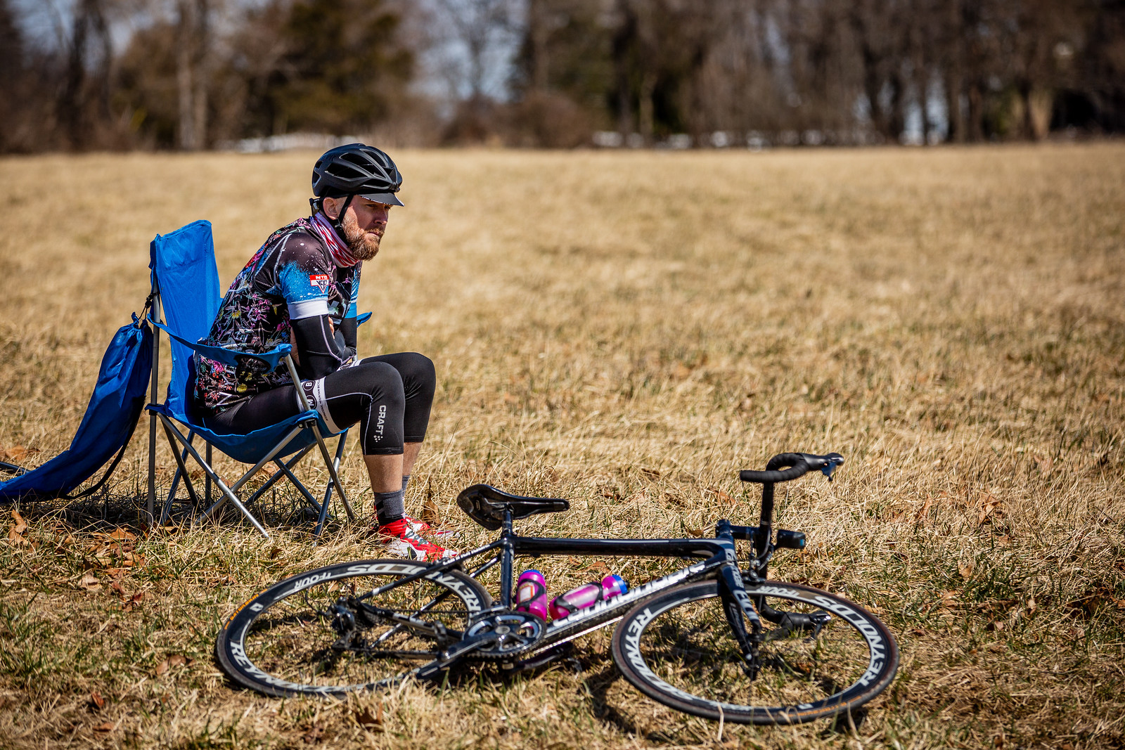 A rider takes a load off during the 2019 Hell of Hunterdon, contemplating his day out so far.