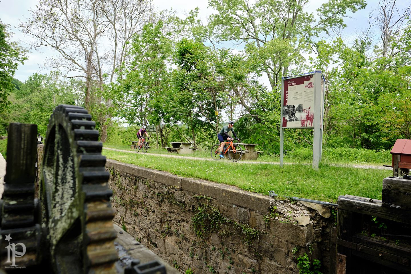 Riders rolled along the locks of the Delaware Canal Path, a sixty-mile path from Easton, PA, to Bristol, PA. Photo credit  Jason Wood .