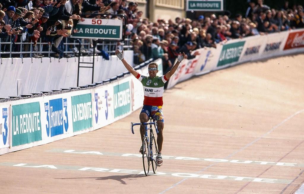Andrea Tafi crossing the Paris-Roubaix finish first in 1999. Photo courtesy    G4 Productions   .