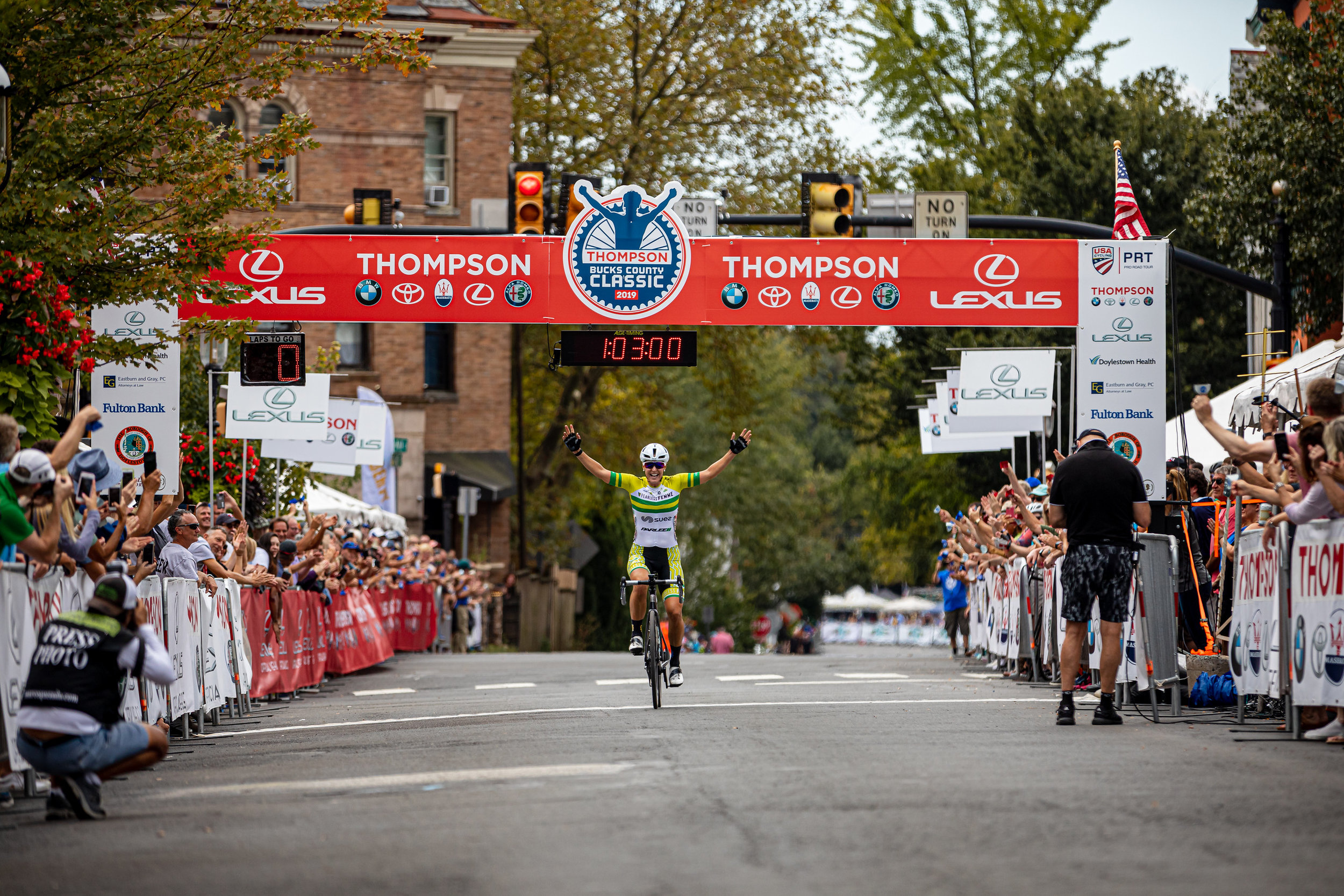 Rebecca Wiasek of Fearless Femme Racing soloed to victory in the Doylestown Health Women's Classic. Photo courtesy   Mike Maney  .