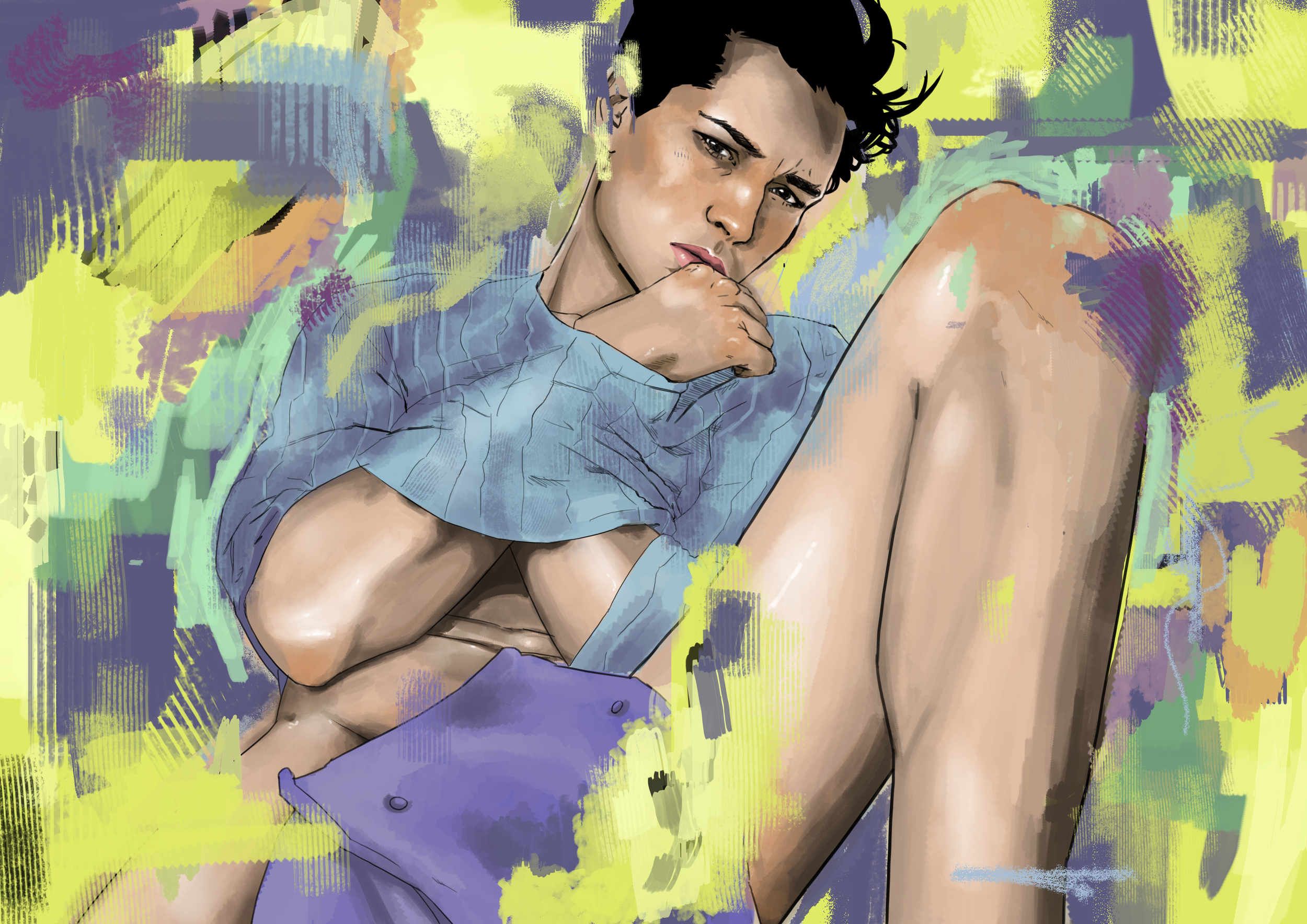 Male playing in paint.