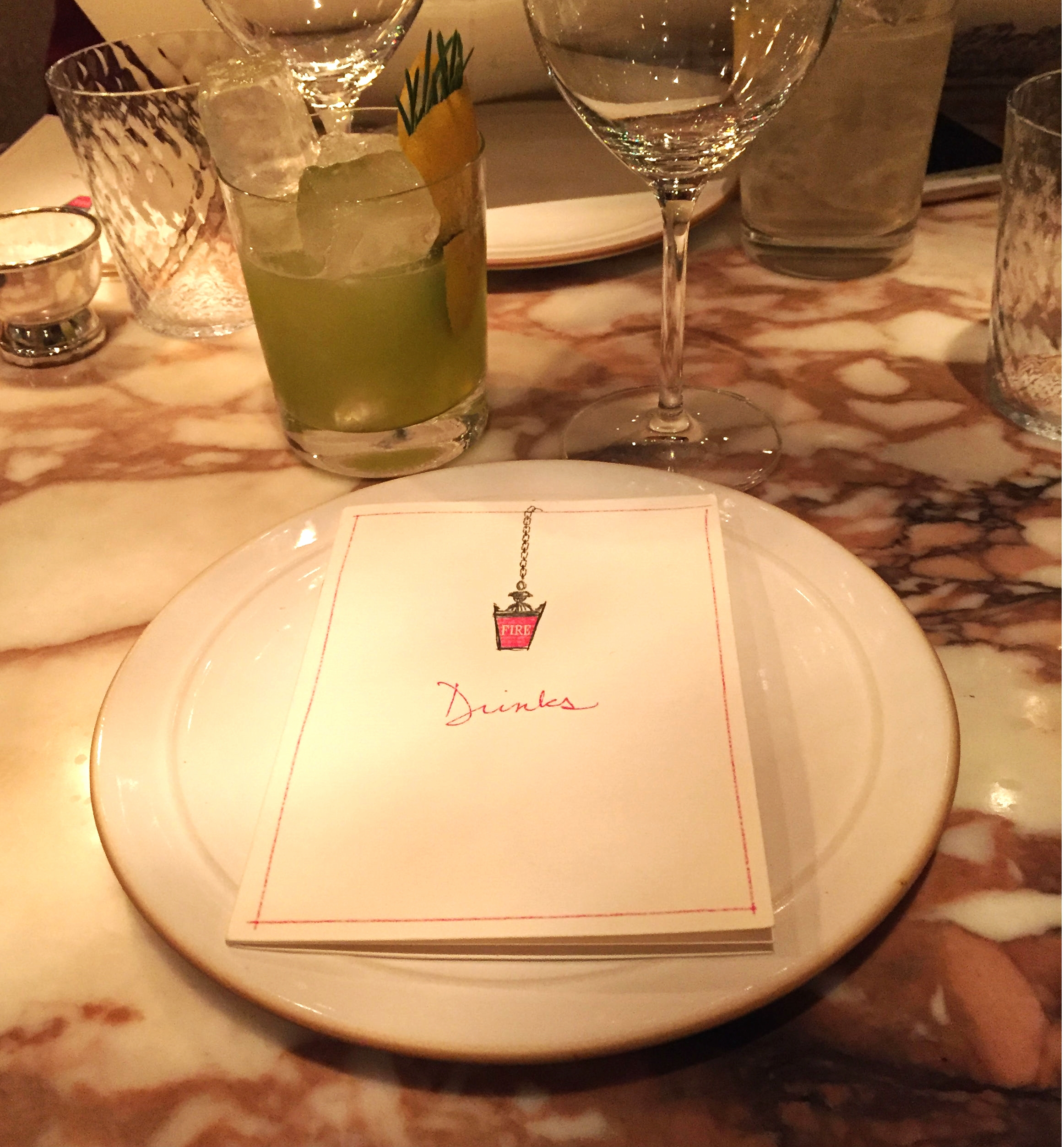 Chiltern Firehouse drinks menu - restaurant review