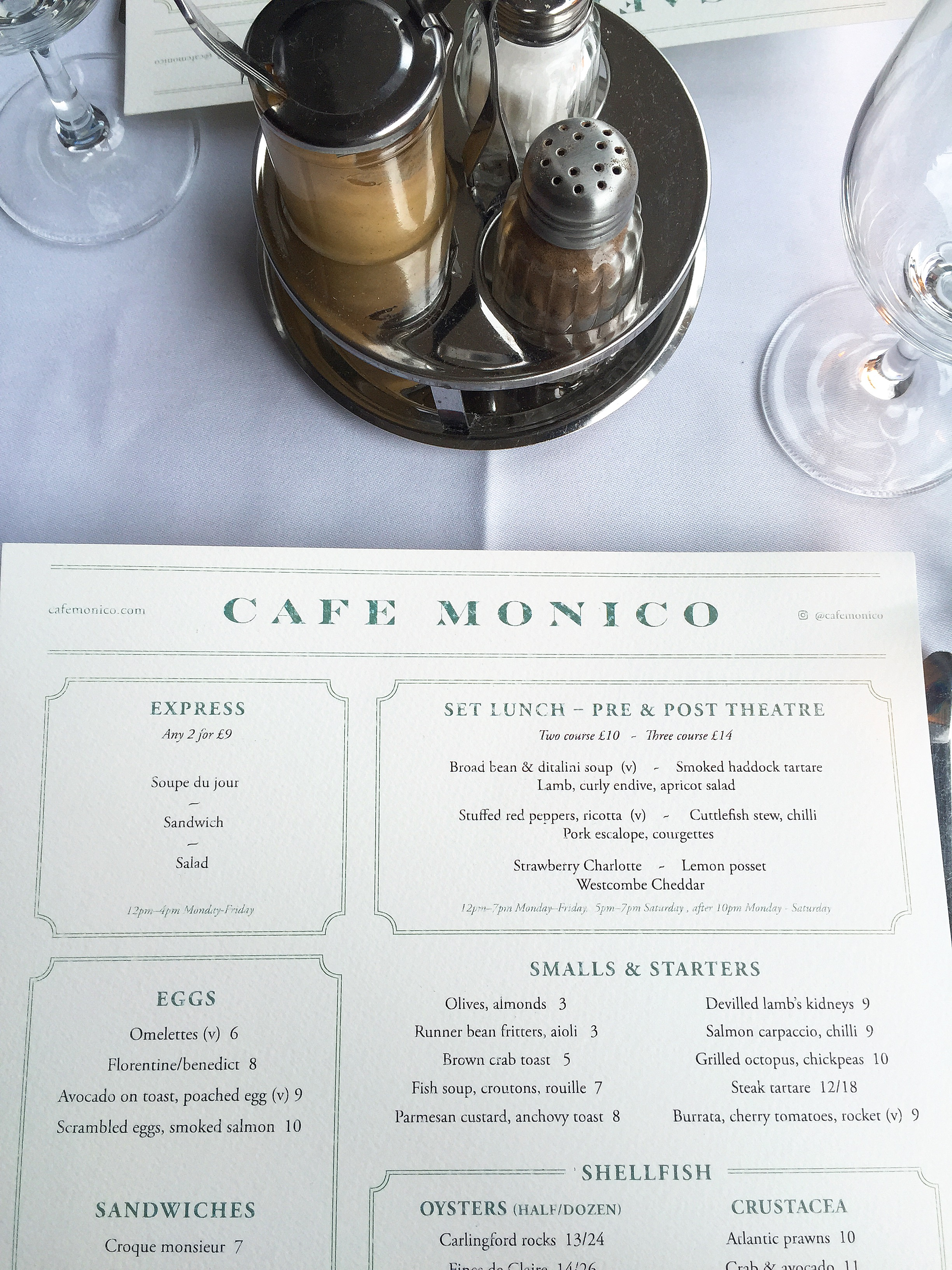 Menu - Cafe Monico review