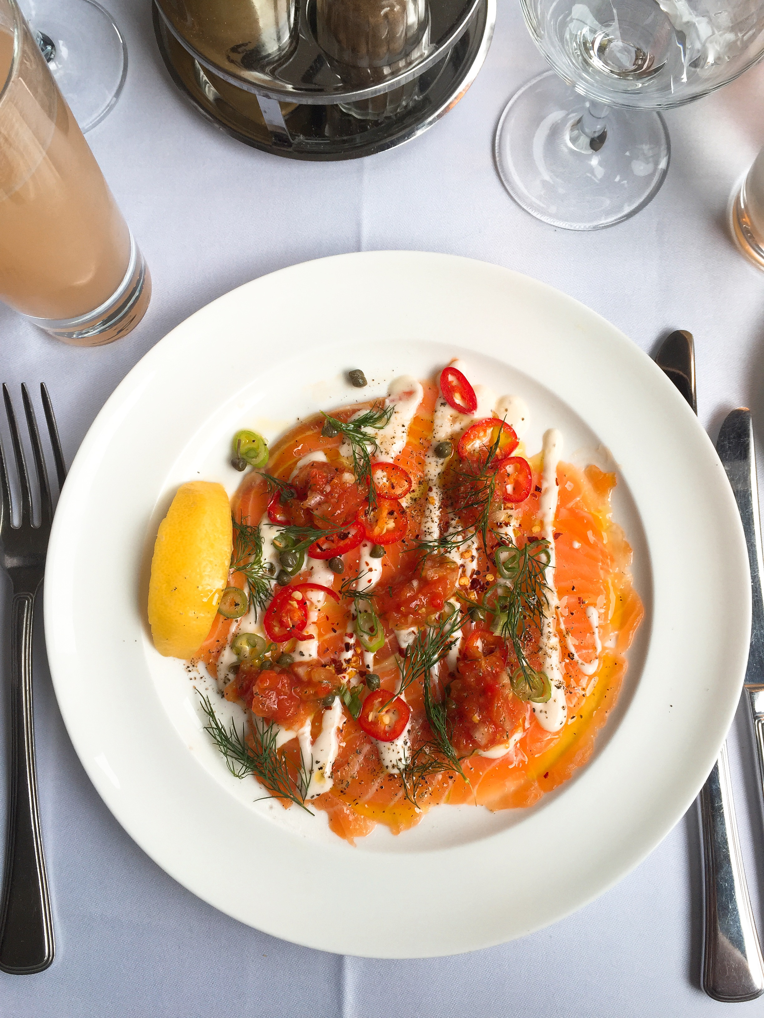 Salmon starter - Cafe Monico review
