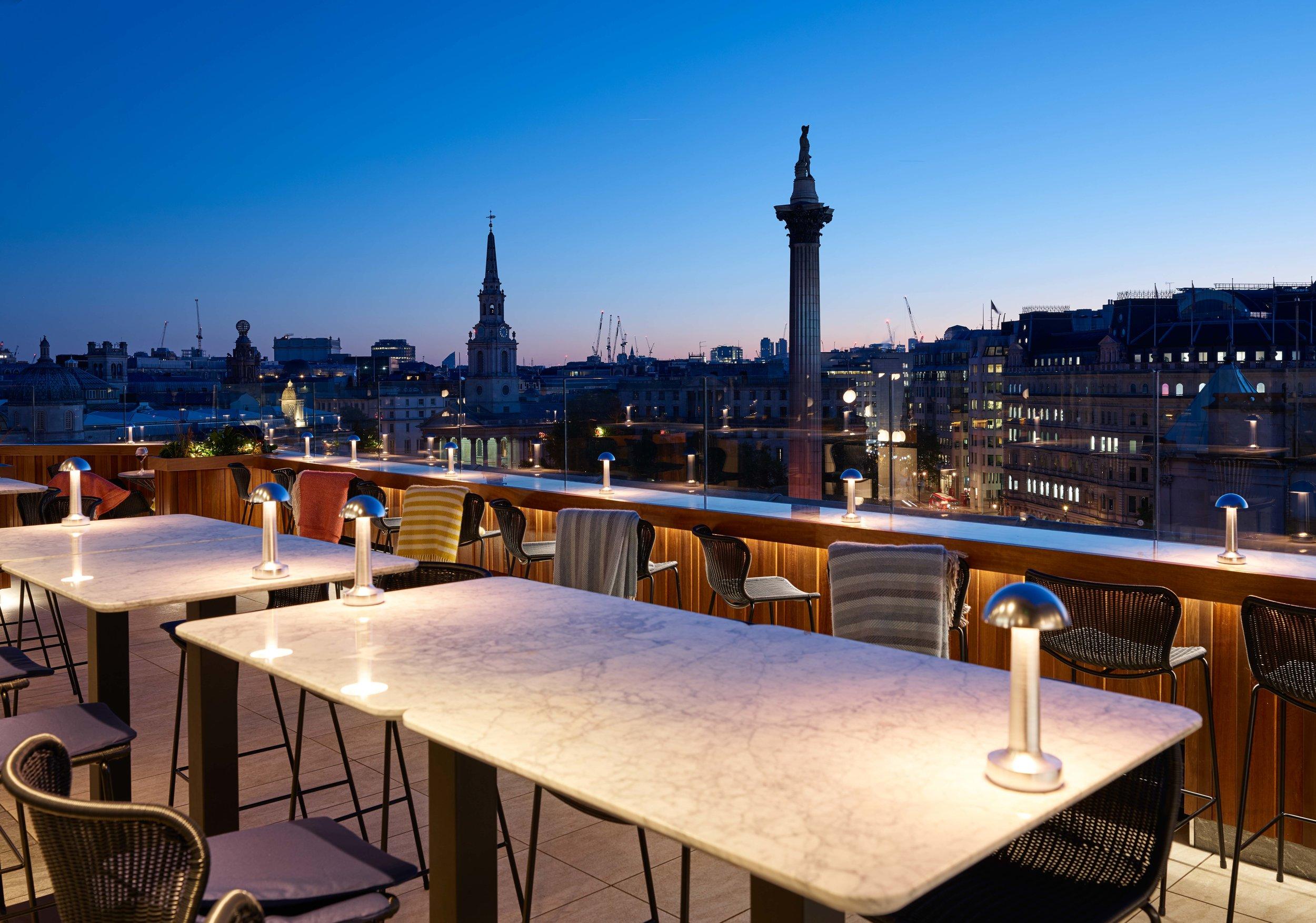 The rooftop bar at Trafalgar Dining Rooms