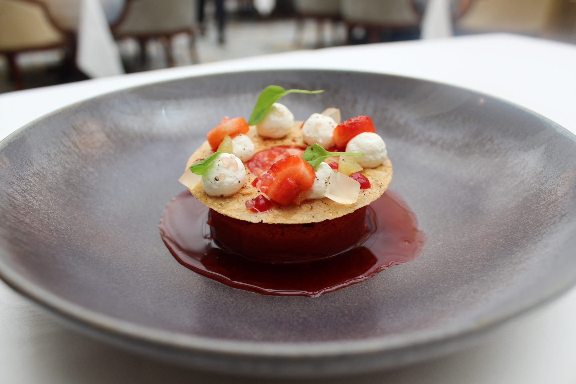 strawberry dessert at Celeste at the lanesborough hotel london