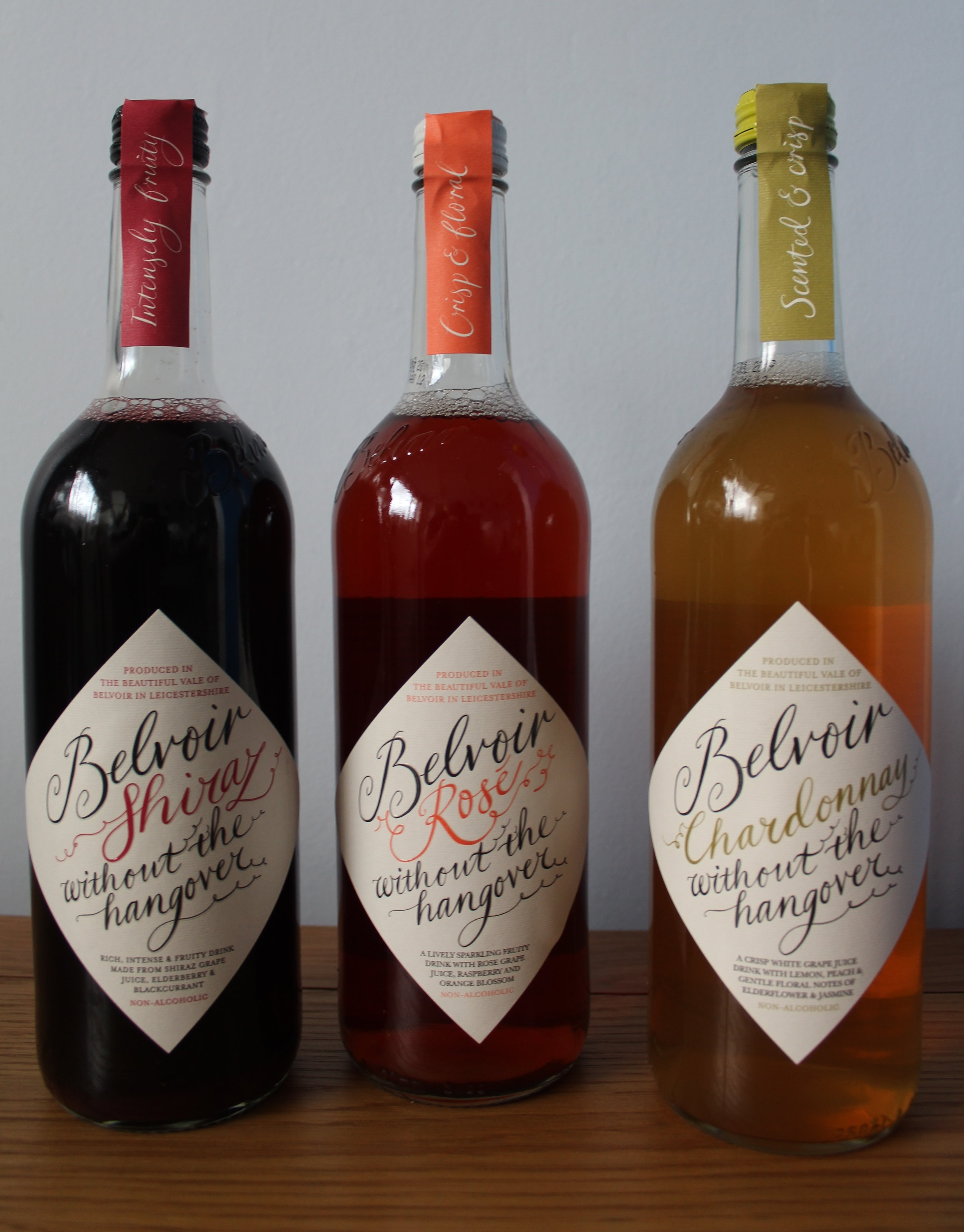 Belvoir without the hangover Rose Shiraz Chardonnay non alcoholic wine