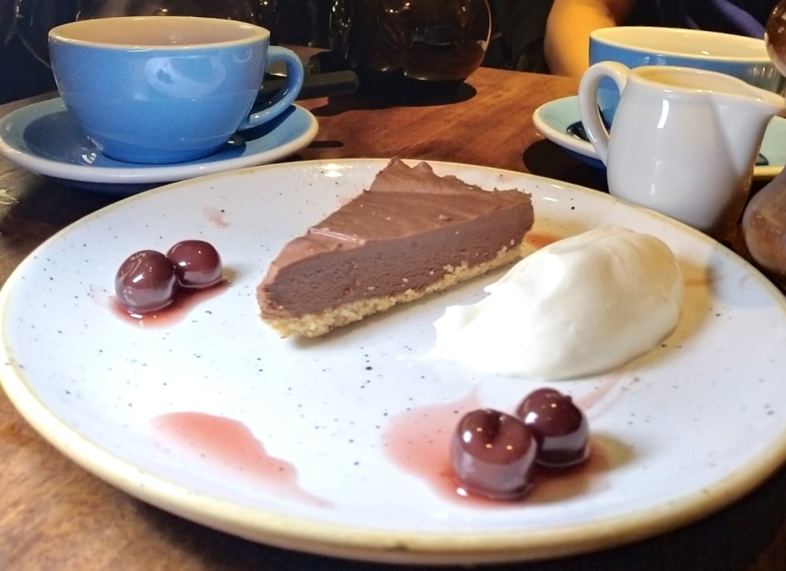 chocolate mousse tart kirsch cherries foxlow soho london