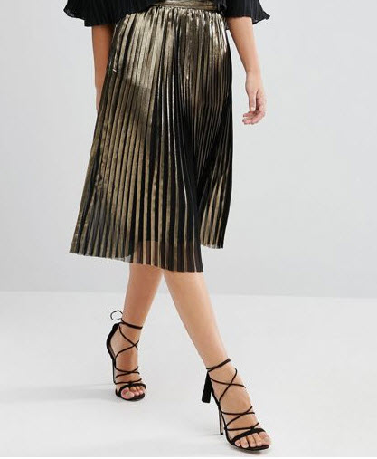 Foiled Pleated Skirt