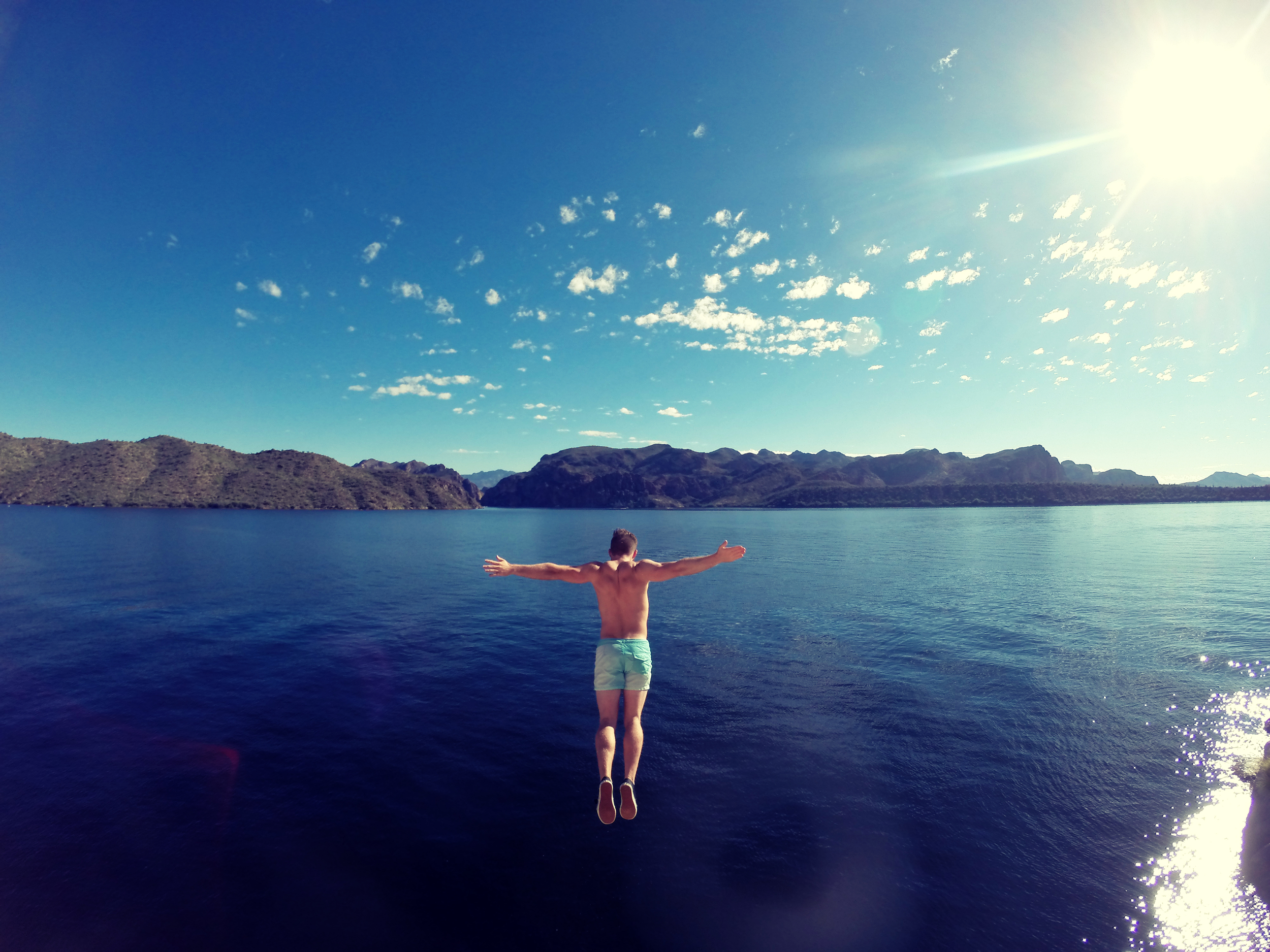 Cliff jumping at Saguaro Lake, Arizona.
