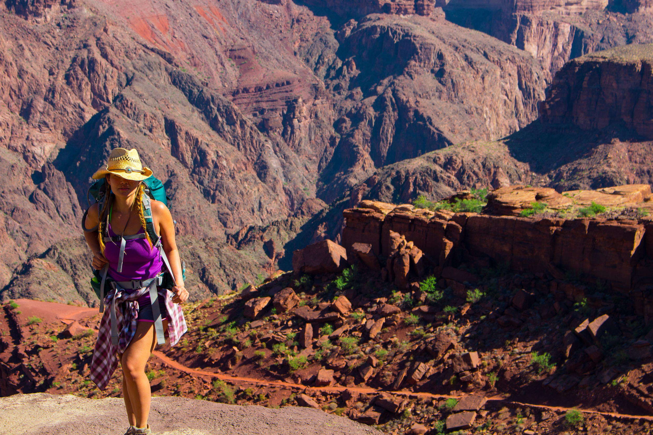 Girl Backpacking in the Grand Canyon