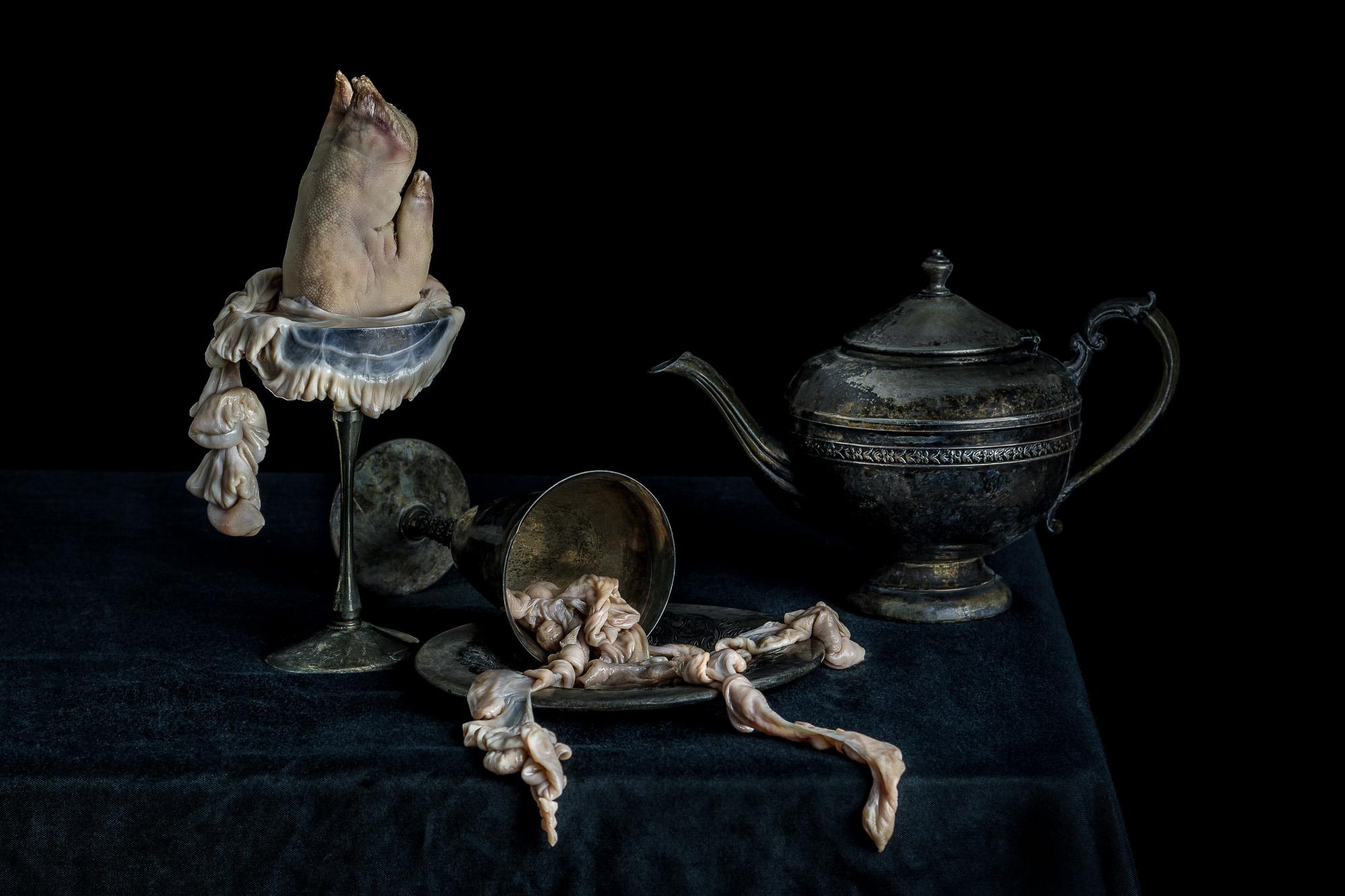 Vanitas with Pig Foot, Pig Intestines, and Teapot