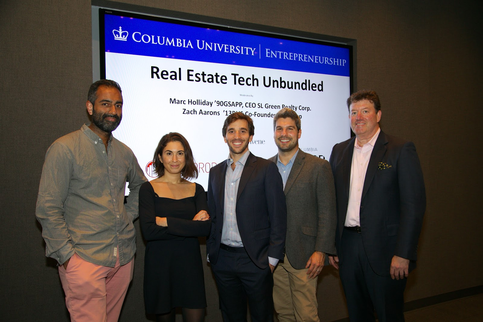 (From left)  A  mol Sarva Ph.D., Founder & CEO of  Knotel | Susannah Vila, Founder of  Flip | Jonathan Wasserstrum, Co-founder and CEO of TheSquareFoot | Zachary Aarons, Co-Founder, MetaProp NYC | Stu Ellman, Columbia Business School professor and co-founder of RRE Ventures