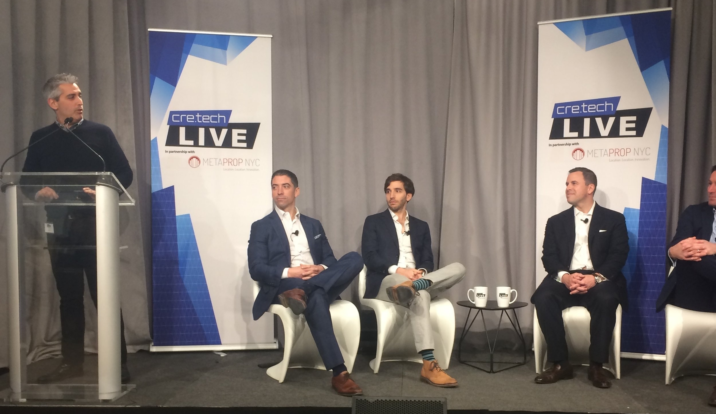(Left to right) Aaron Block, MetaProp NYC Founding Partner & Managing Director introduces cre.techLIVE expert tech brokers Sacha Zarba, CBRE; Jonathan Wasserstrum, CEO, The SquareFoot;  Jim Wink, JLL, and Eric Thomas, CRESA.