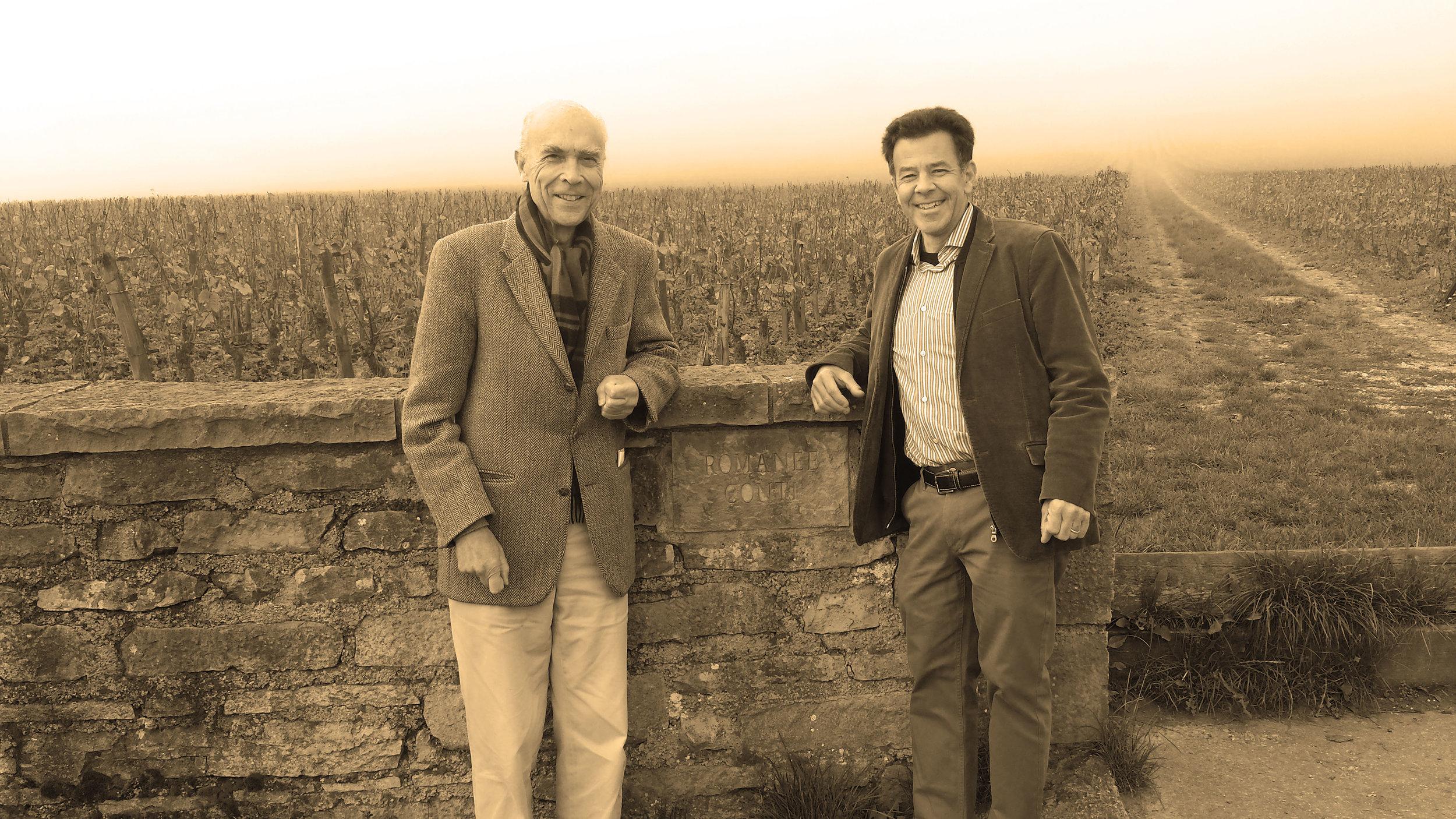 Aubert de Villaine with Daniel Johnnes in front of the Romanée-Conti vineyard