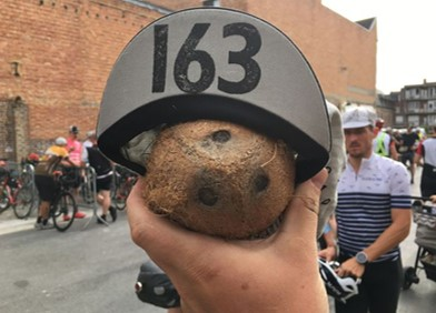 Denis Uzdiaev (#163) went a little coco nuts before the race