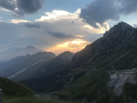"""""""CP2 first climb was so nice, timed it perfectly in the evening light. Really tough, but more enjoyable than the second climb that was relentless. Nice way to cap off a big day of up in some insane heat. Now to head north to Poland! Body is as expected, hurts in places but all is manageable."""""""
