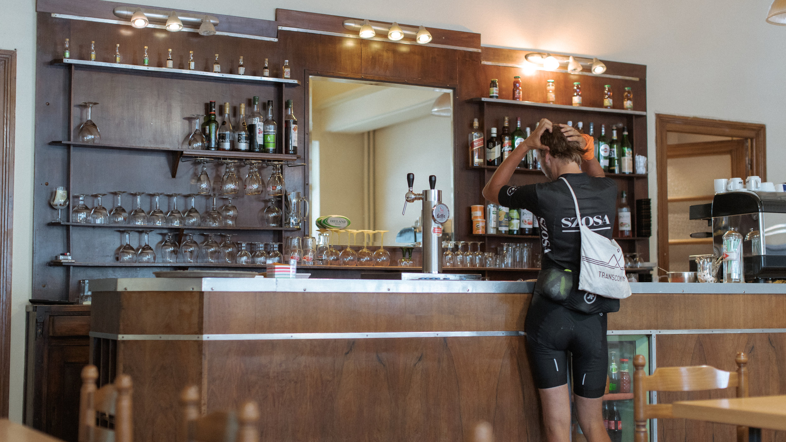 Pawel Pulawski refuels at the bar of Hotel de Milan. Photo: Angus Sung©