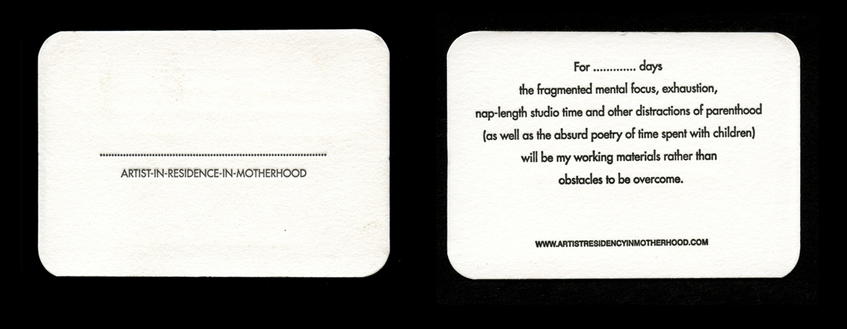 NEW!!! Letterpress Artist Residency in Motherhood Customisable Business Cards /   ORDER HERE