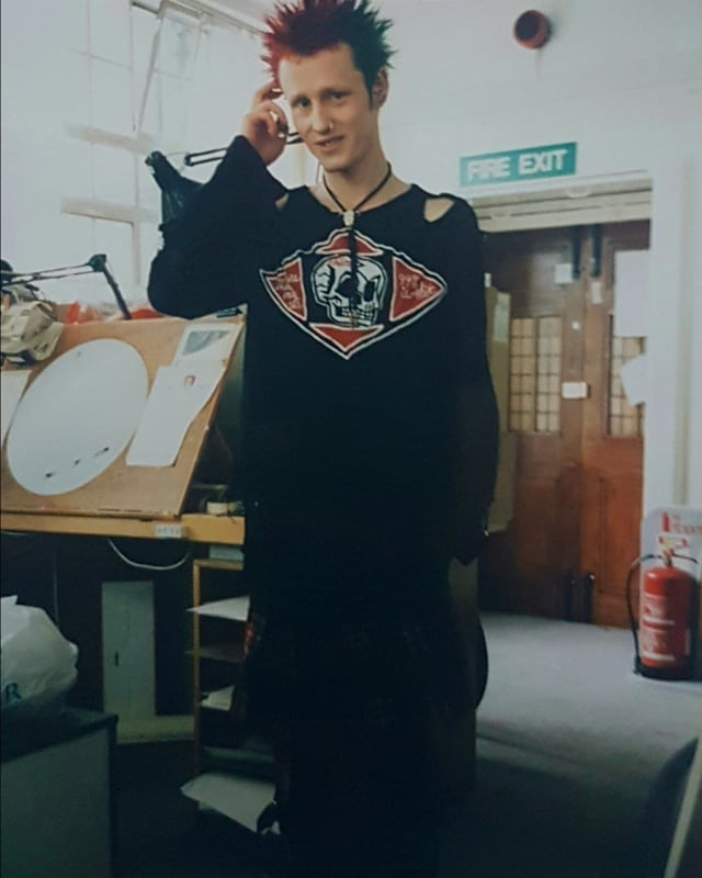 Me standing at my old animation desk at the amazing @ulimeyeranim8 studio many many moons ago! Still using those same  lamps though! I handstitched the skull design on the old Boy London/Seds top.  #animation #2danimation #rufusdayglo #ulimeyer #comics #comicbook #punk #punkrock #seditionaries #boylondon #viviennewestwood #clothesforheroes