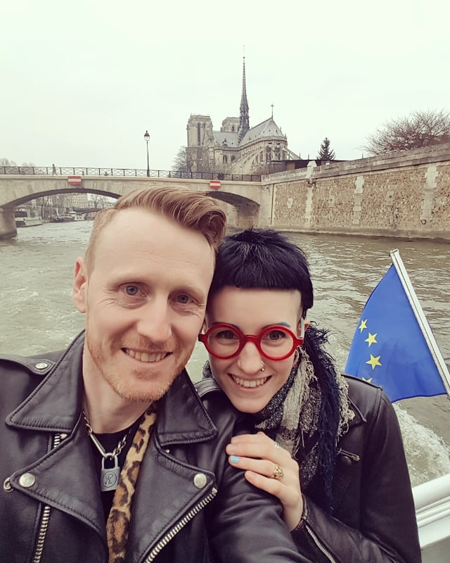 Claire and I in Paris, with the spire of the Notre Dame on the background. We had just got engaged.  Our hearts bleed for Paris, and the collective history we have lost tonight.  Take the time to notice the beauty, art and history around us.  #paris #notredame #clairedeluneart #rufusdayglo #lovecats