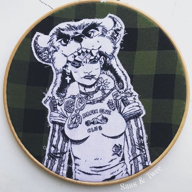 Absolutely blown away by this amazing needlepoint version of one of my TANK GIRL illustrations! What incredible work by @sassandtwee ! #tankgirl #handmade #stitching #comics #comicbook #cosplay #rufusdayglo #sassandtwee