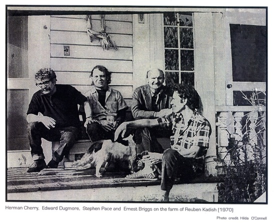 Sitting on the porch at Rubin Kadish's farm, 1970