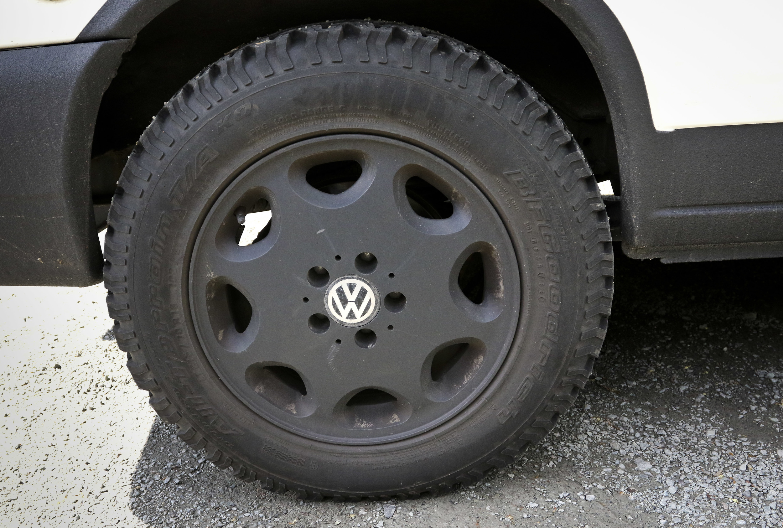 Bridgestone A/T tires have increased performance off paved roads.  The rims were powder coated matte black.