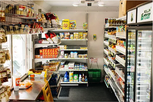 A full array of groceries, including fresh fruits and vegetables, are available inside Rollin Grocer, a full-service mobile grocery store serving food deserts and underserved neighborhoods in Kansas City. Rollin Grocer operates 6 days/week, year-round