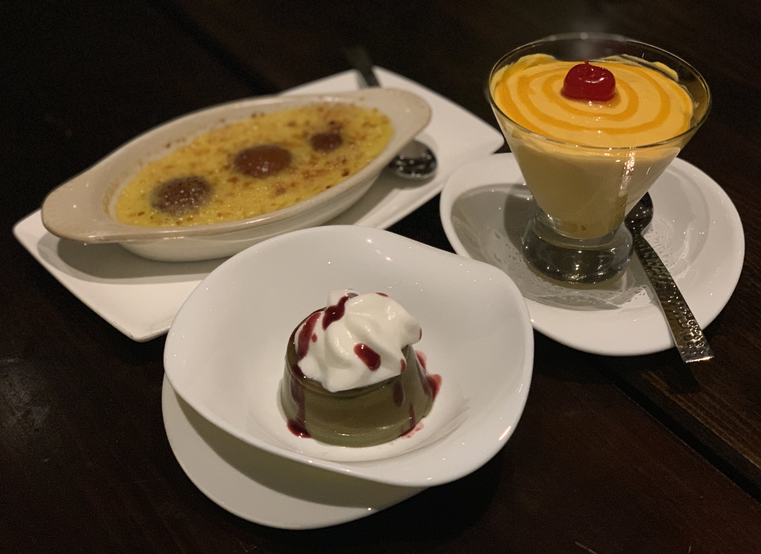 Gulab Jamun, Panna Cotta, and Mango Mousse