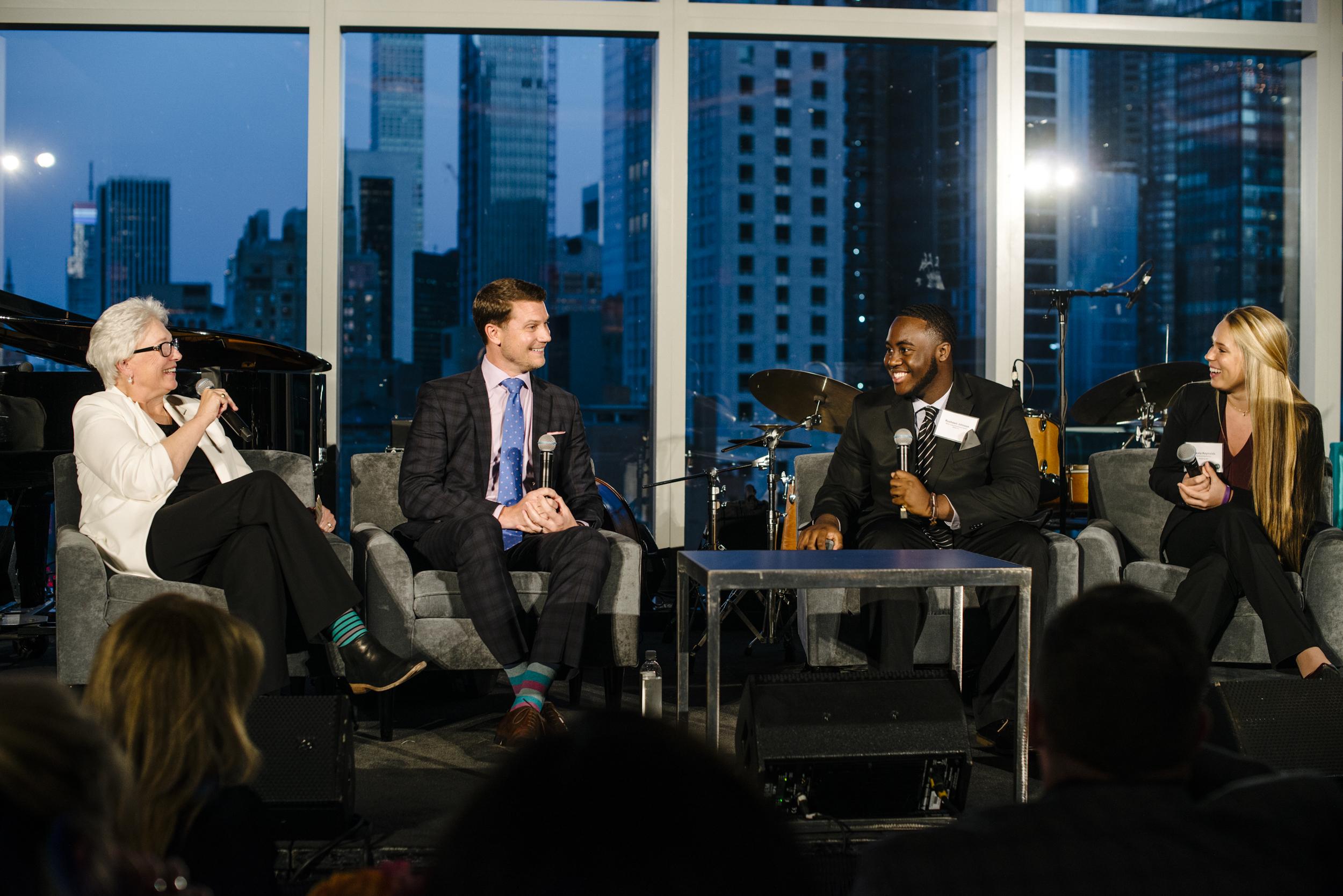 JD Hoye, Matt Zielinski, with student panelist: Rushawn Johnson, and Dakota Reynolds