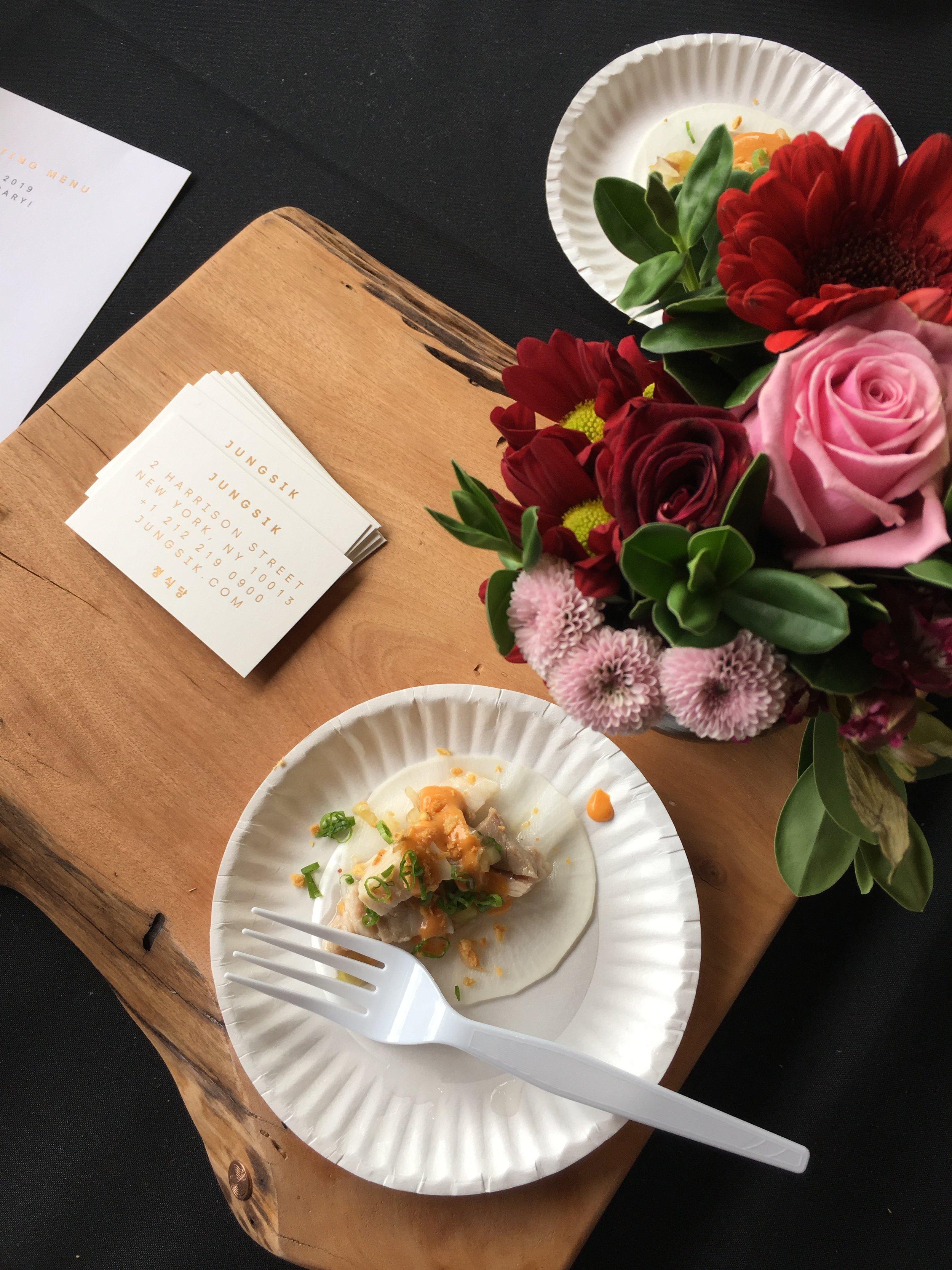 Braised Pork Belly Pickled Radish Wrap by Jungsik