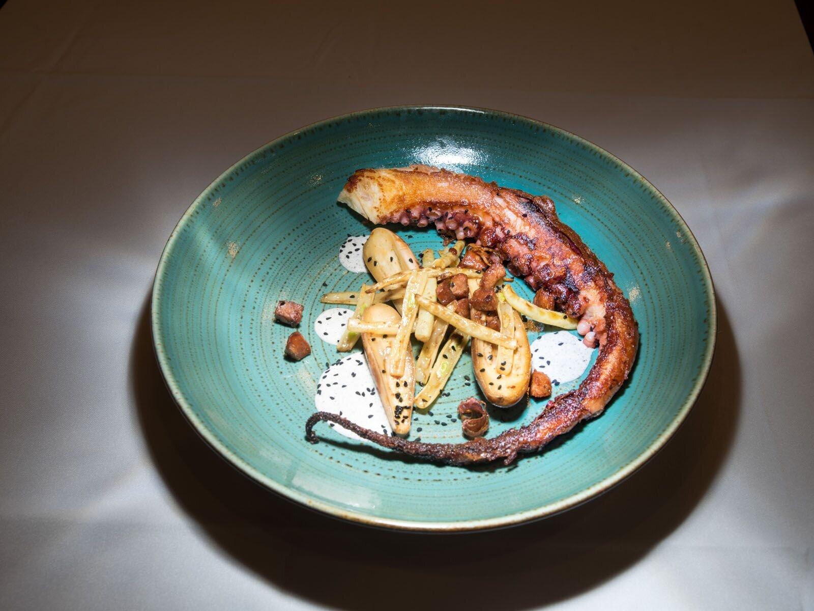 Crispy Octopus  with Chorizo, wax beans, pickled eggplant and nigella aioli. Photo Credit - Oleg March