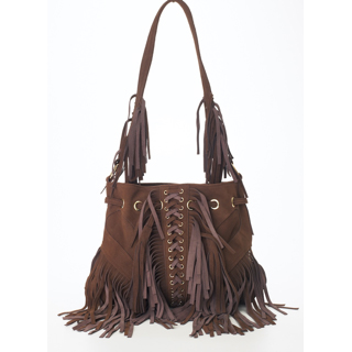 SIGNATURE BUTTERFLY FRINGE HOBO BAG $495.00    With lacing detail in suede