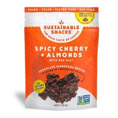SPICY CHERRY + ALMONDS: $7.99    Bites of almonds, tart cherries, cranberries, spices and maple syrup sweetened dark chocolate