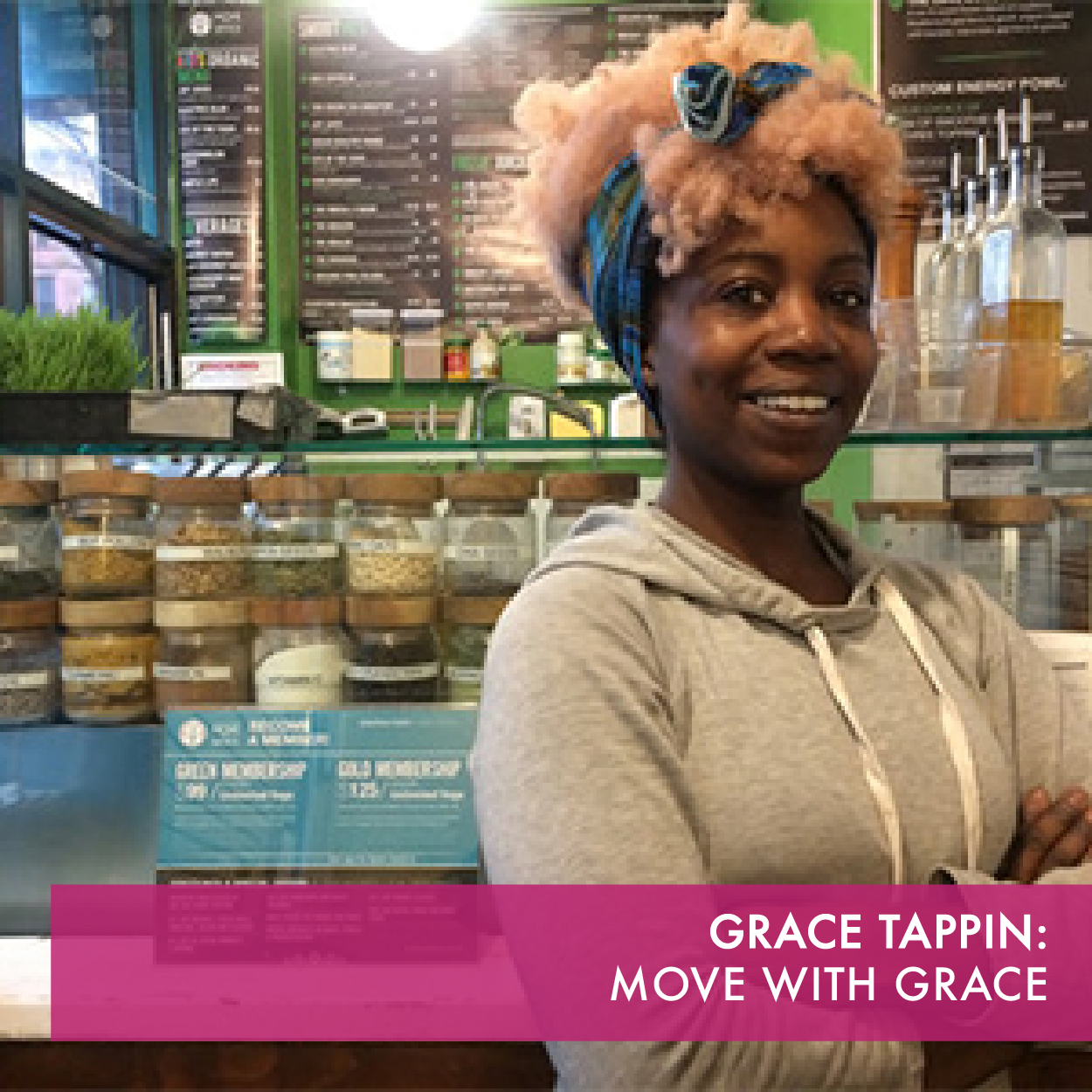 Move with Grace Moon Studio offers daily classes, such as yoga, Pilates, and fitness. The Studio's Juice Bar provides healthy drinks and food.